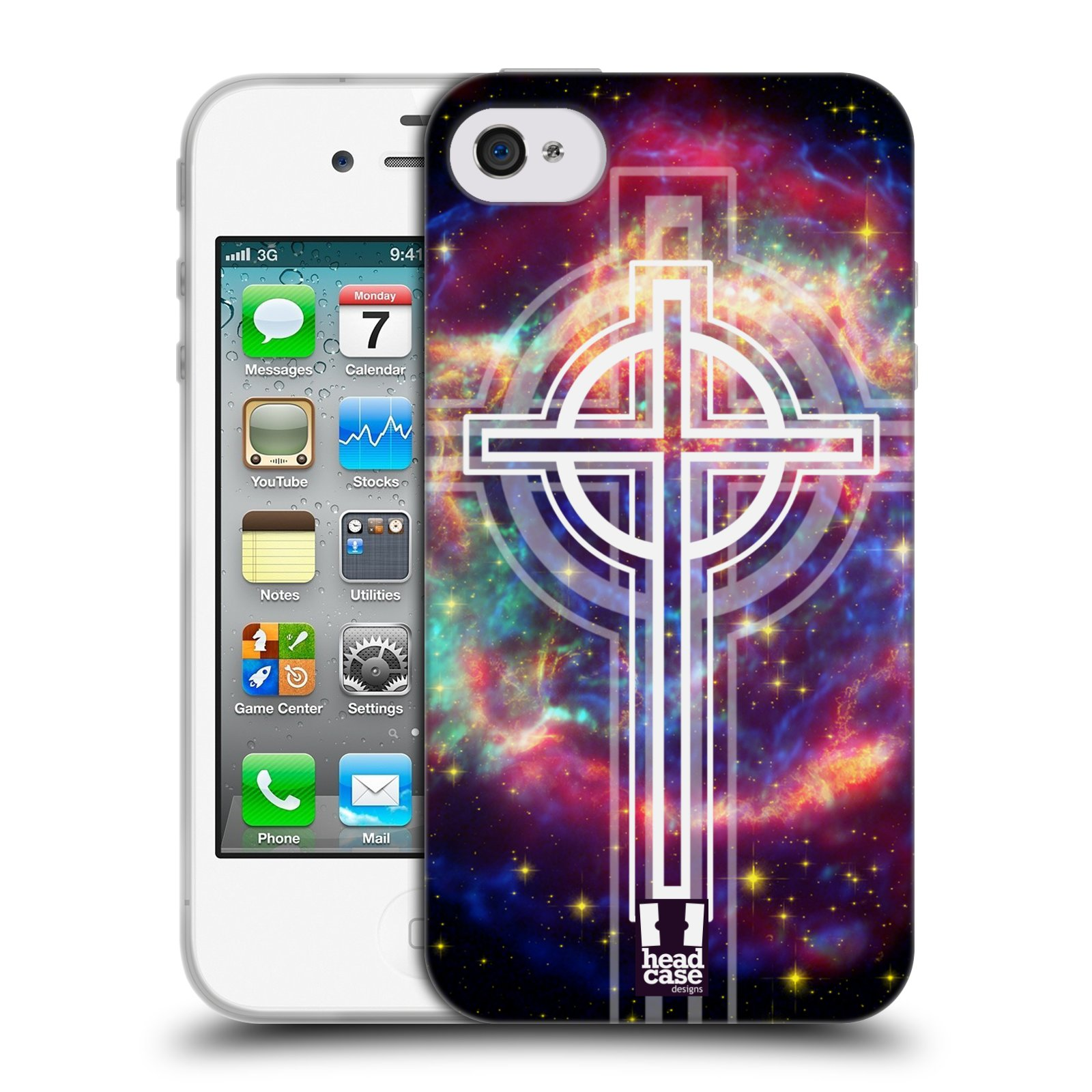 HEAD CASE silikonový obal na mobil Apple Iphone 4 4S vzor Kříž Cross KŘIŽ  VESMÍR 482a3fce4d5