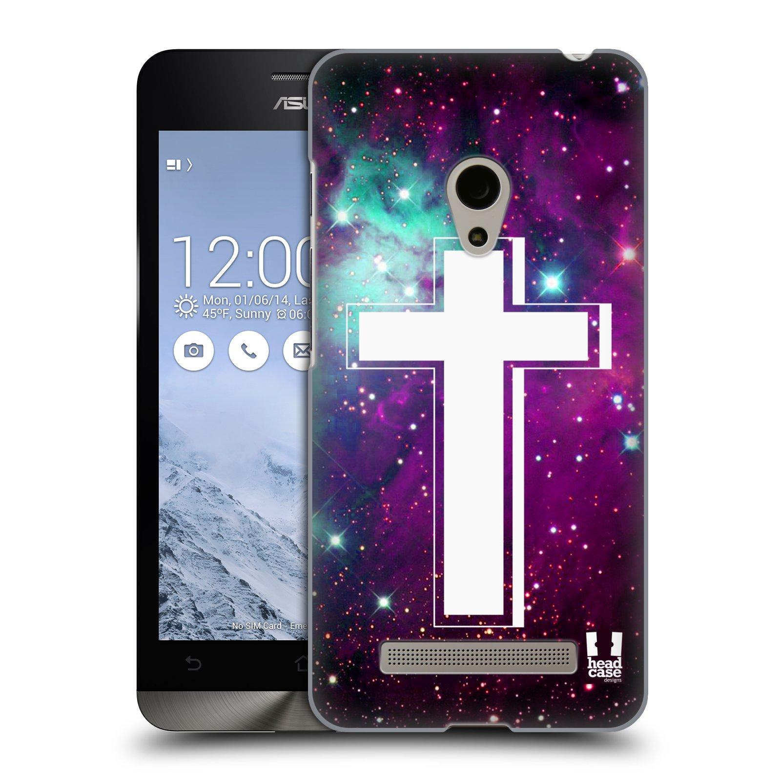 HEAD CASE plastový obal na mobil Asus Zenfone 5 vzor Kříž Cross MLHOVINA FIALOVÁ