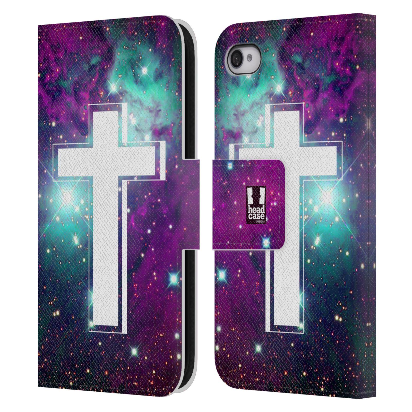 HEAD CASE Flipové pouzdro pro mobil Apple Iphone 4 4s barevný kříž fialová  barva vesmír mlhovina b77fd303d7e