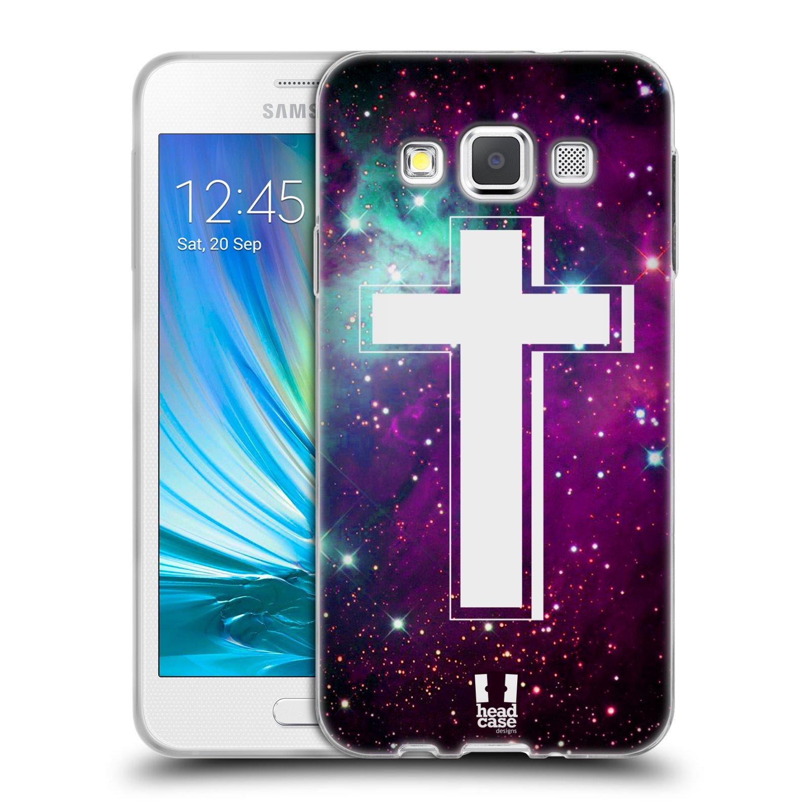 HEAD CASE silikonový obal na mobil Samsung Galaxy A3 vzor Kříž Cross MLHOVINA FIALOVÁ