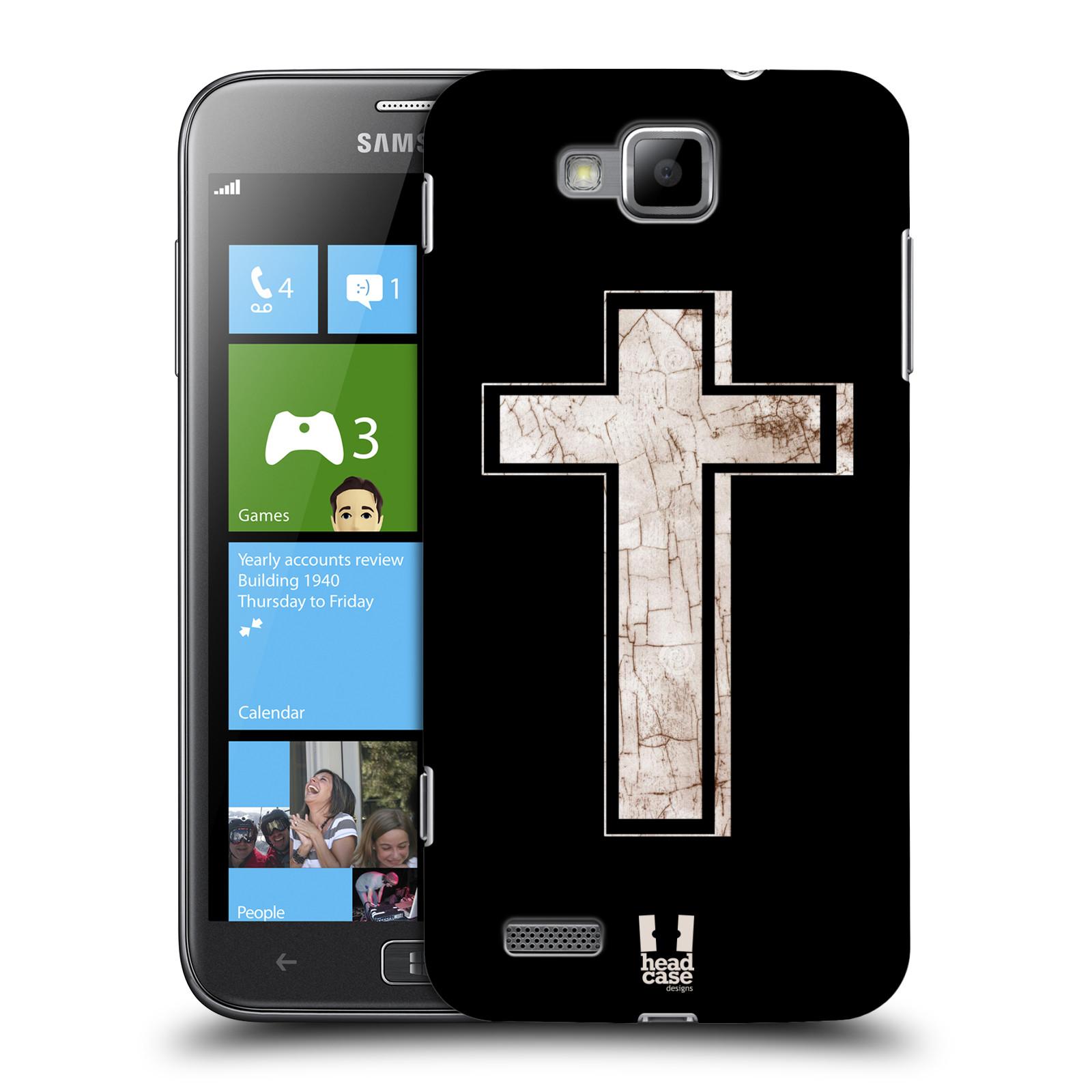 HEAD CASE plastový obal na mobil Samsung ATIV S vzor Kříž Cross PORCELÁN TEXTURA černá a bílá