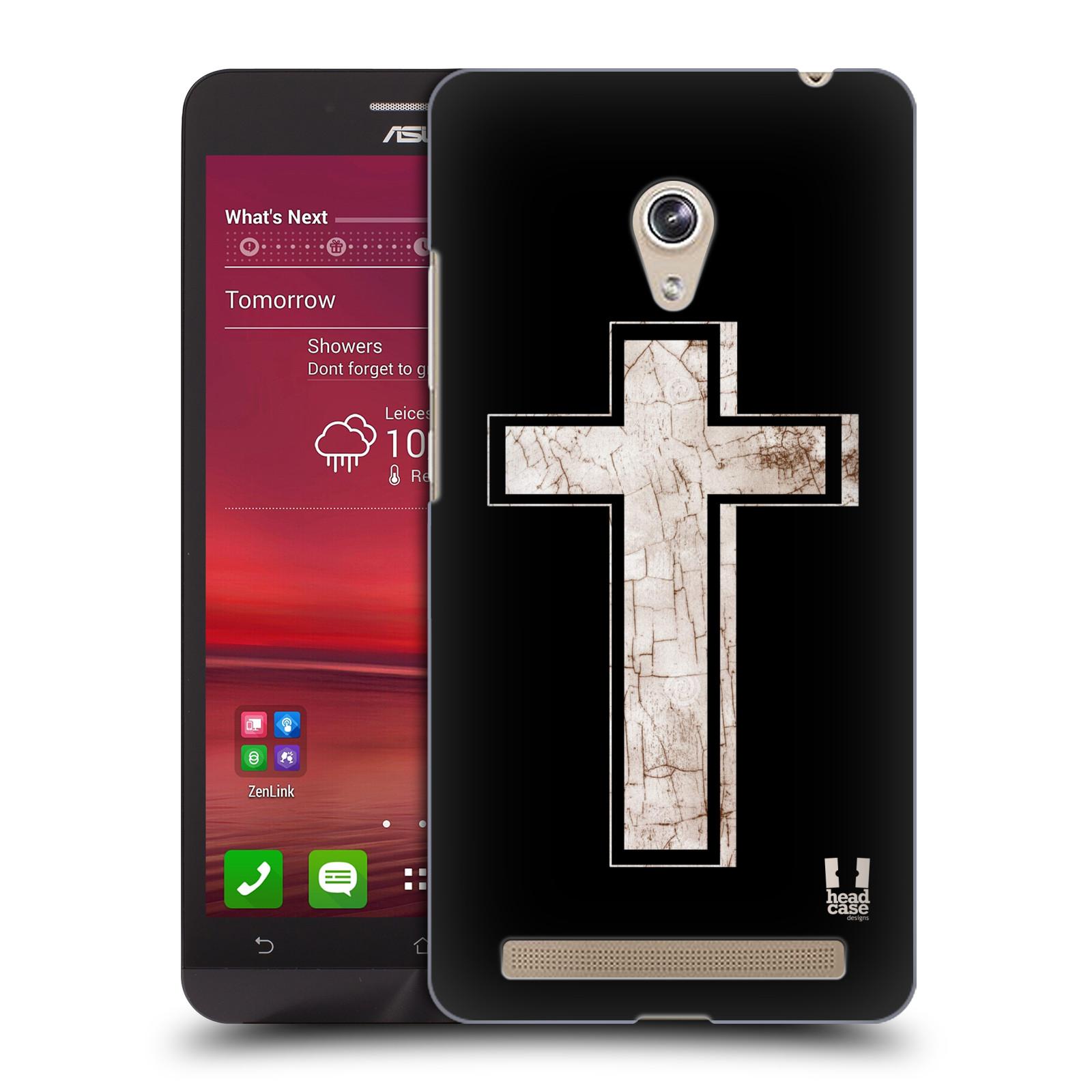 HEAD CASE plastový obal na mobil Asus Zenfone 6 vzor Kříž Cross PORCELÁN TEXTURA černá a bílá