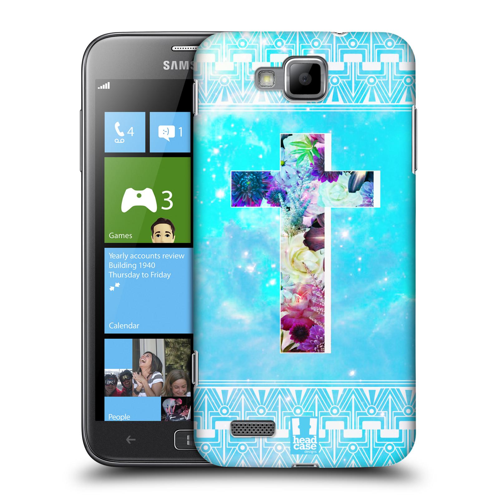 HEAD CASE plastový obal na mobil Samsung ATIV S vzor Kříž Cross KVĚTINY MODRÁ