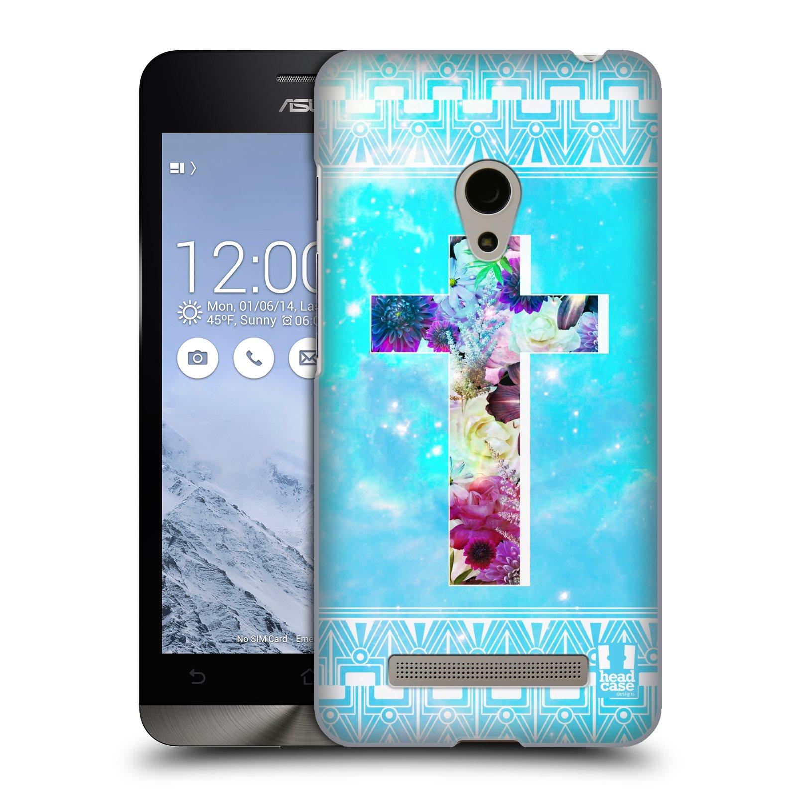 HEAD CASE plastový obal na mobil Asus Zenfone 5 vzor Kříž Cross KVĚTINY MODRÁ