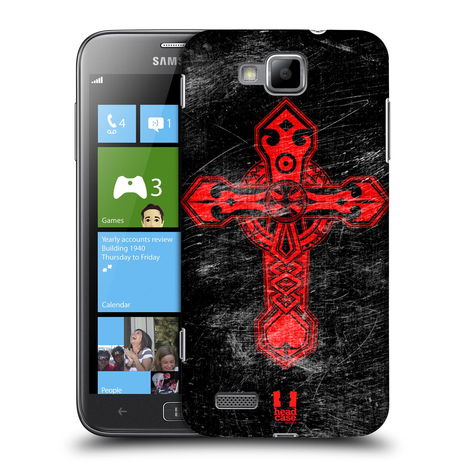 HEAD CASE plastový obal na mobil Samsung ATIV S vzor Kříž Cross TRIBAL ČERVENÁ