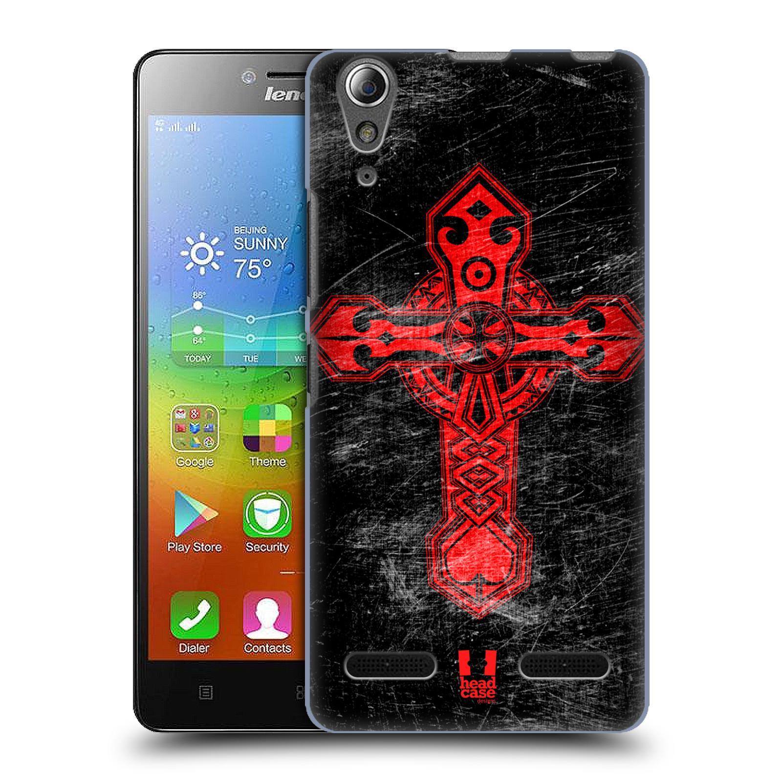 HEAD CASE pevný plastový obal na mobil LENOVO A6000 / A6000 PLUS vzor Kříž Cross TRIBAL ČERVENÁ