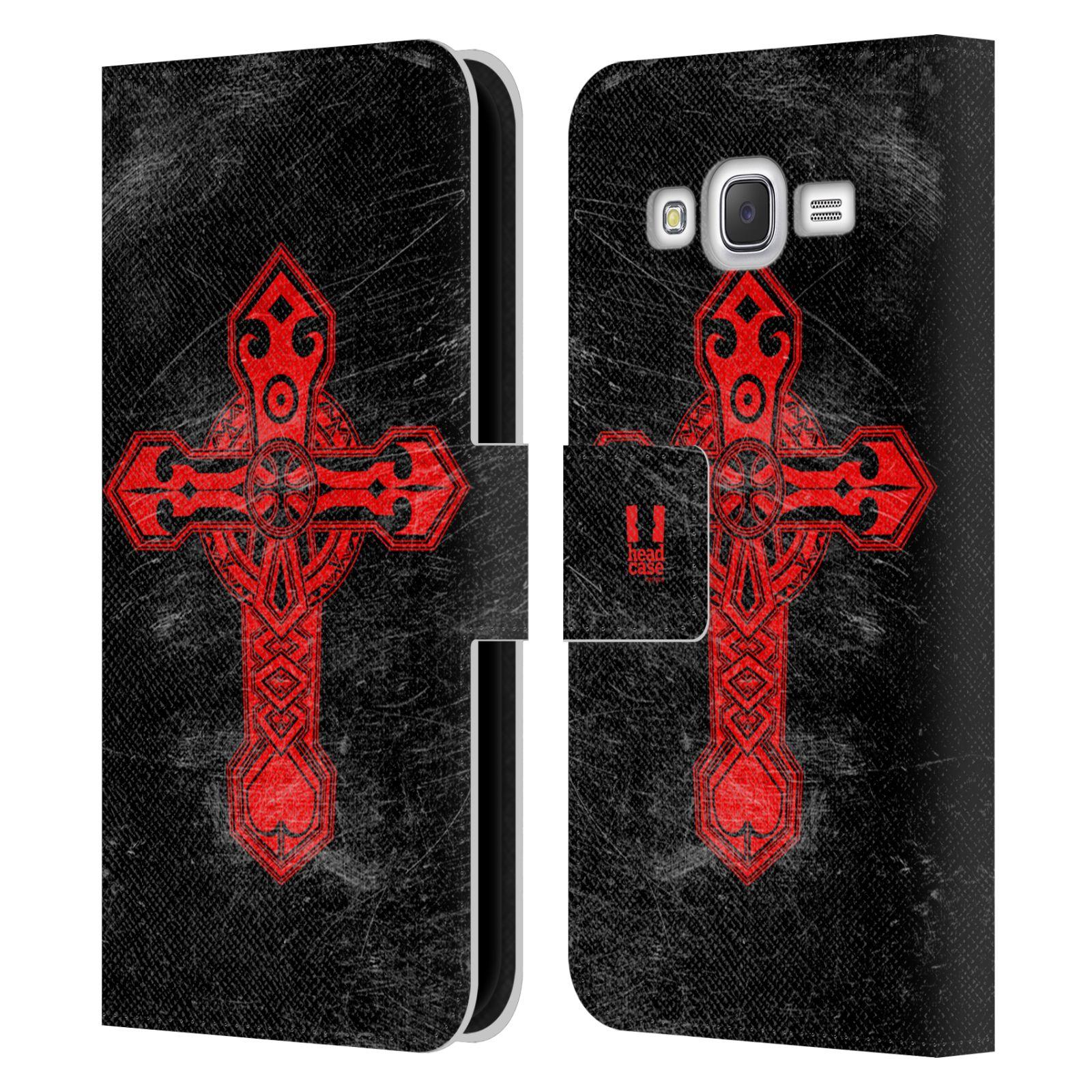 HEAD CASE Flipové pouzdro pro mobil Samsung Galaxy J5 (J500) / J5 DUOS barevný kříž červená
