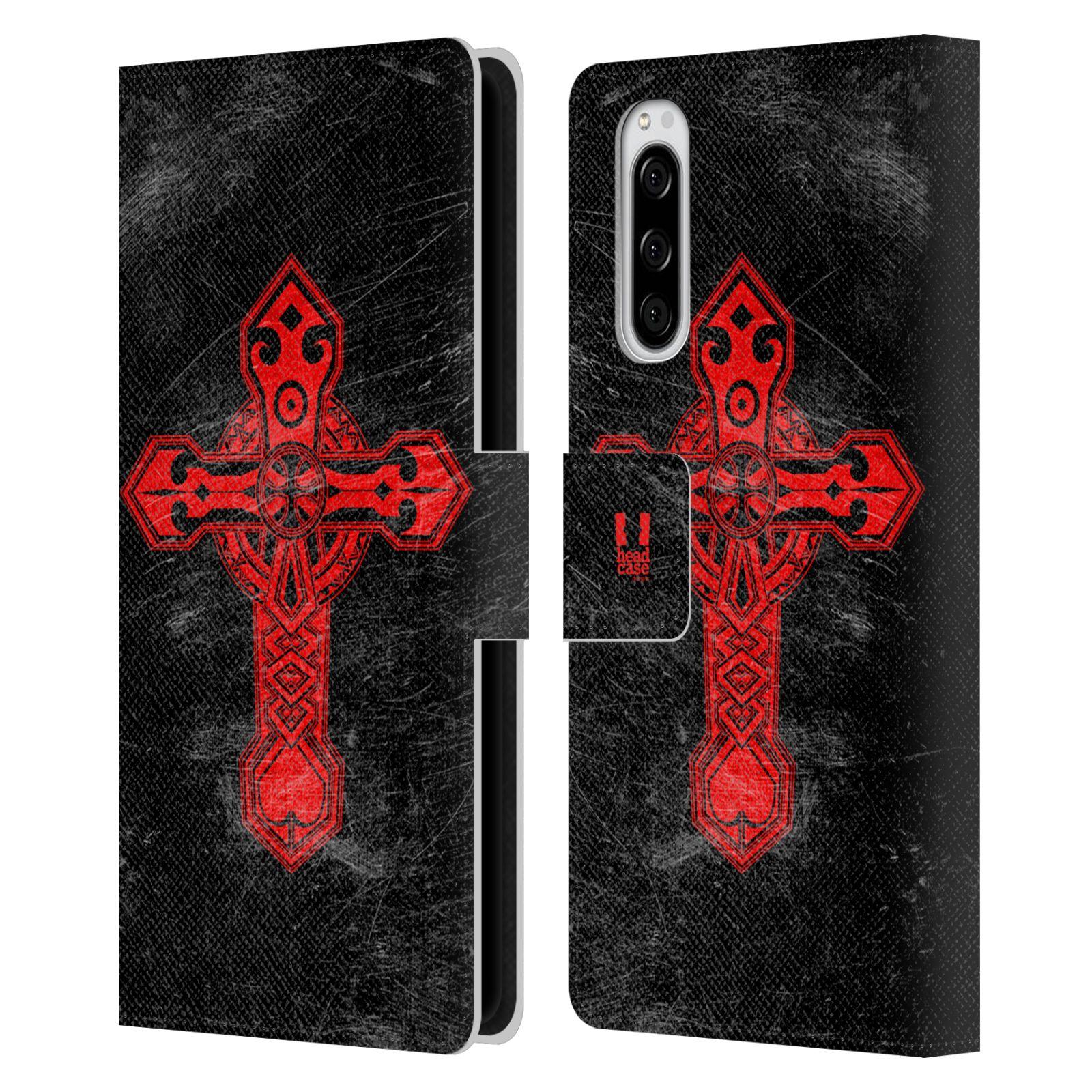 Pouzdro na mobil Sony Xperia 5 barevný kříž červená