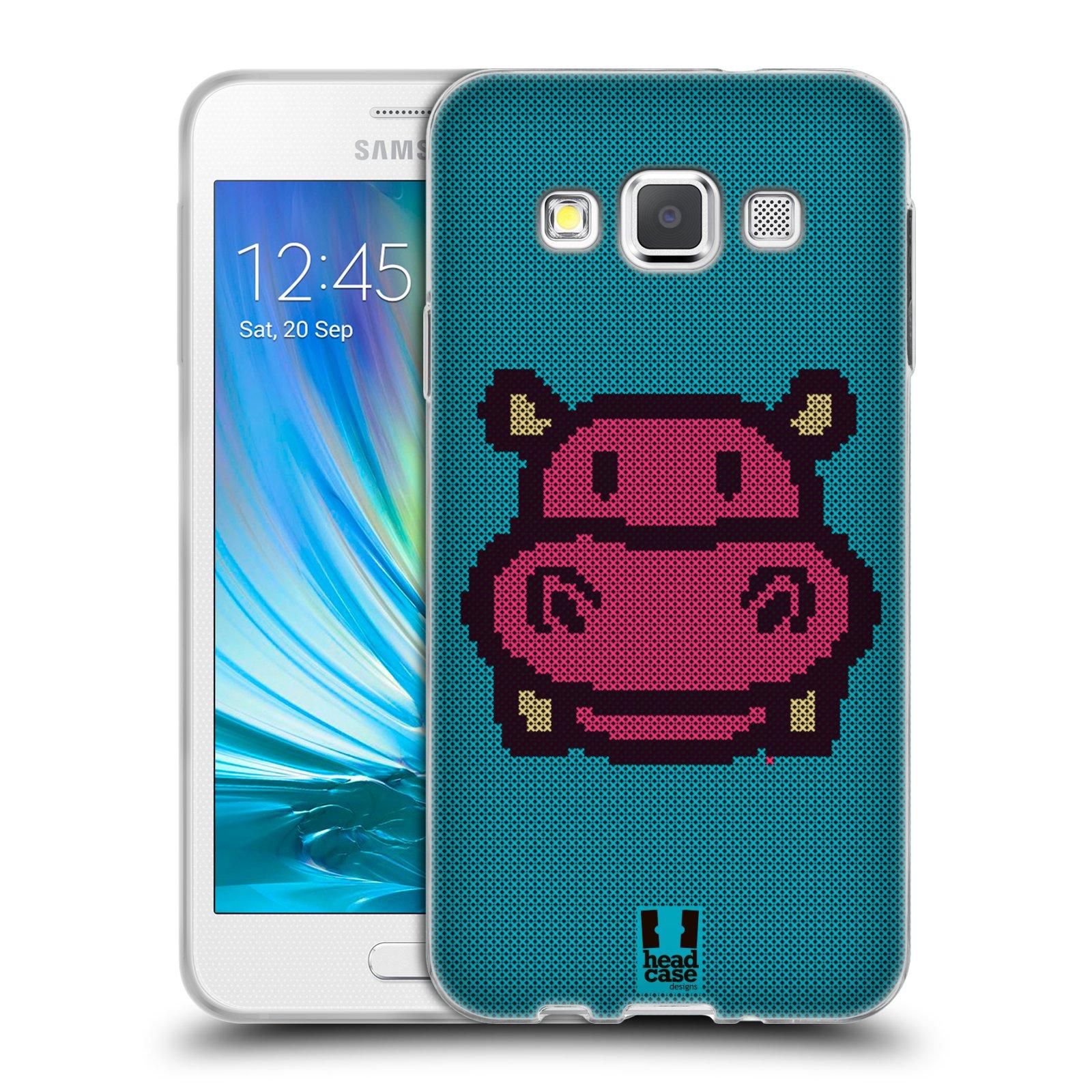 HEAD CASE silikonový obal na mobil Samsung Galaxy A3 vzor kostičky zvířátka HROŠÍK