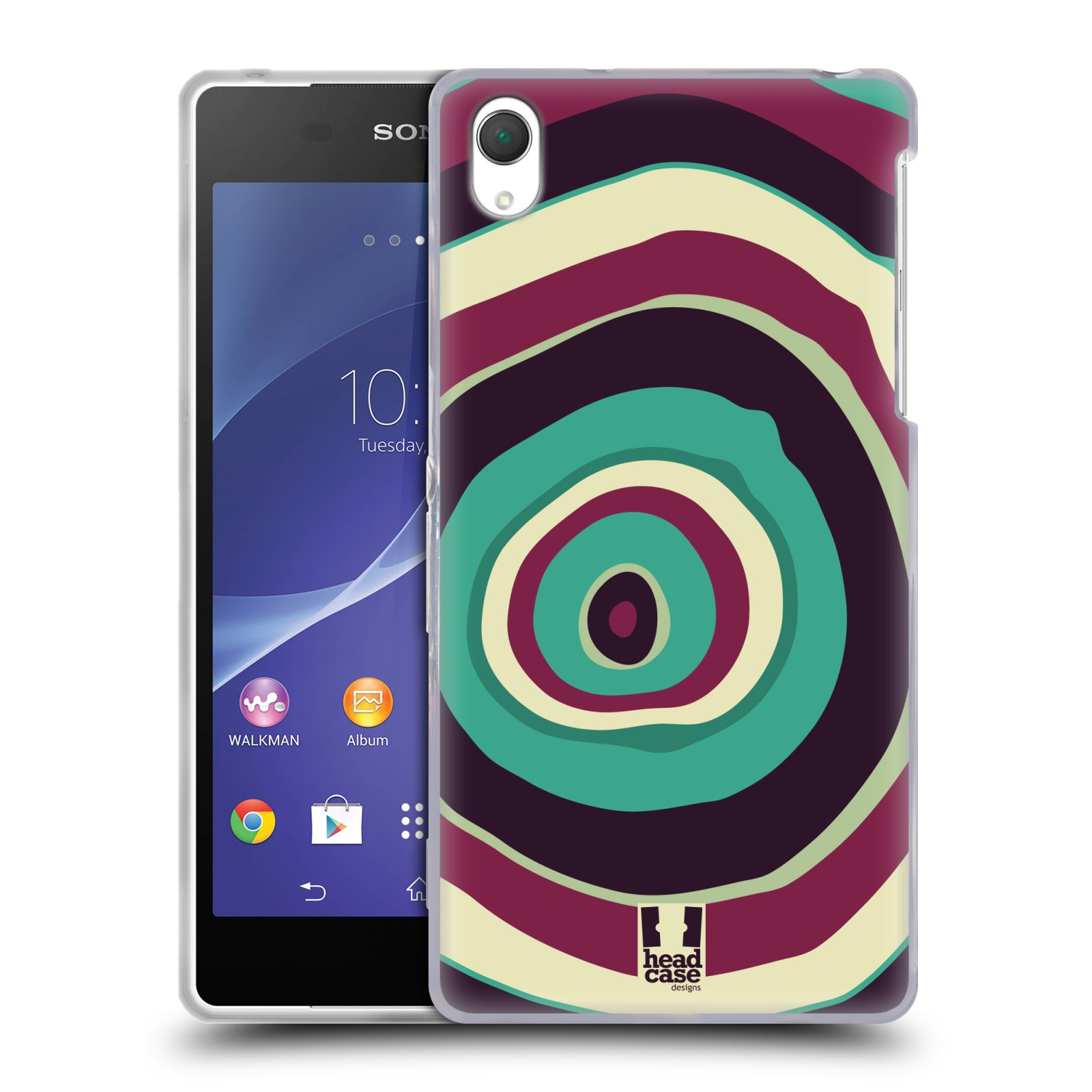 HEAD CASE silikonový obal na mobil Sony Xperia Z2 vzor Barevné letokruhy FIALOVÁ