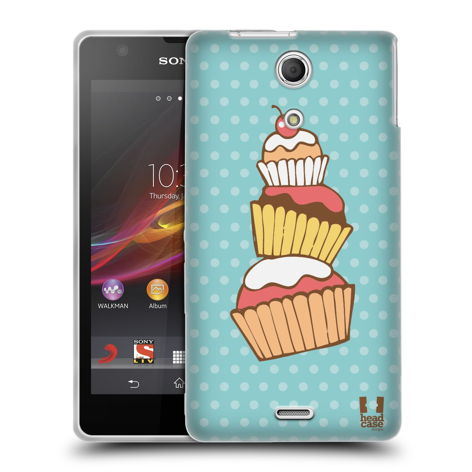 HEAD CASE CUPCAKES GEL CASE FÜR SONY XPERIA ZR