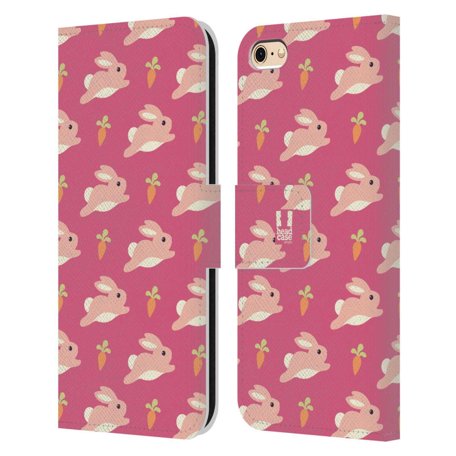HEAD CASE Flipové pouzdro pro mobil Apple Iphone 6/6s barevný zvířecí vzor zajíček růžová