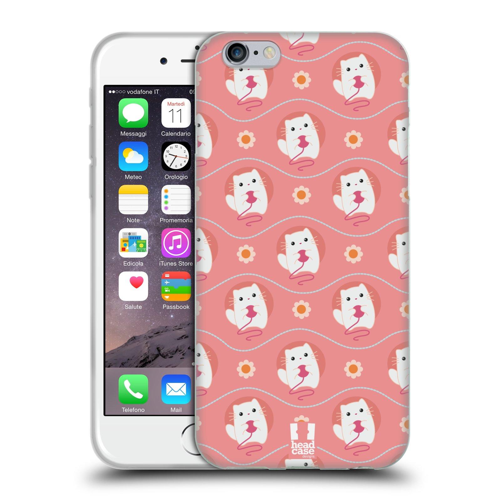 HEAD CASE silikonový obal na mobil Apple Iphone 6/6S vzor roztomilé zvířecí vzory kočičky