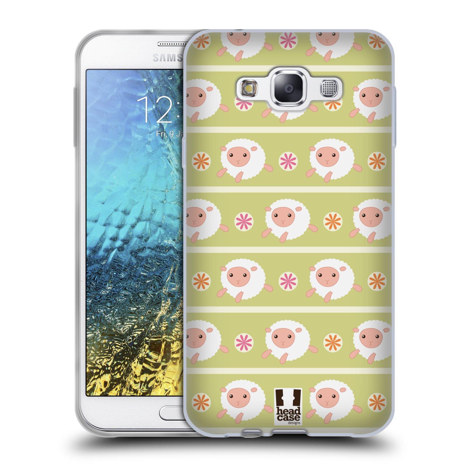 HEAD CASE silikonový obal na mobil Samsung Galaxy E7 vzor roztomilé zvířecí vzory ovečky