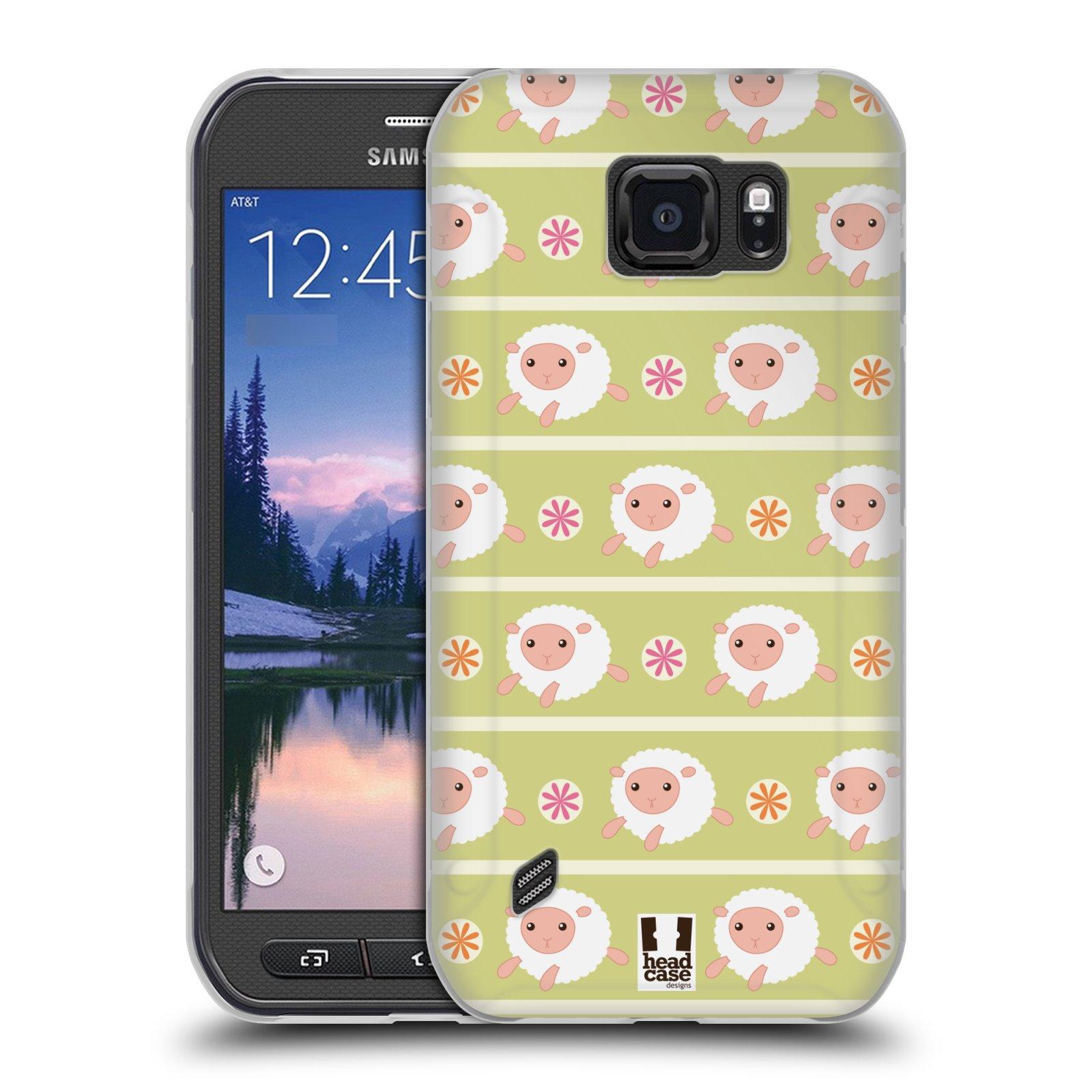 HEAD CASE silikonový obal na mobil Samsung Galaxy S6 ACTIVE vzor roztomilé zvířecí vzory ovečky