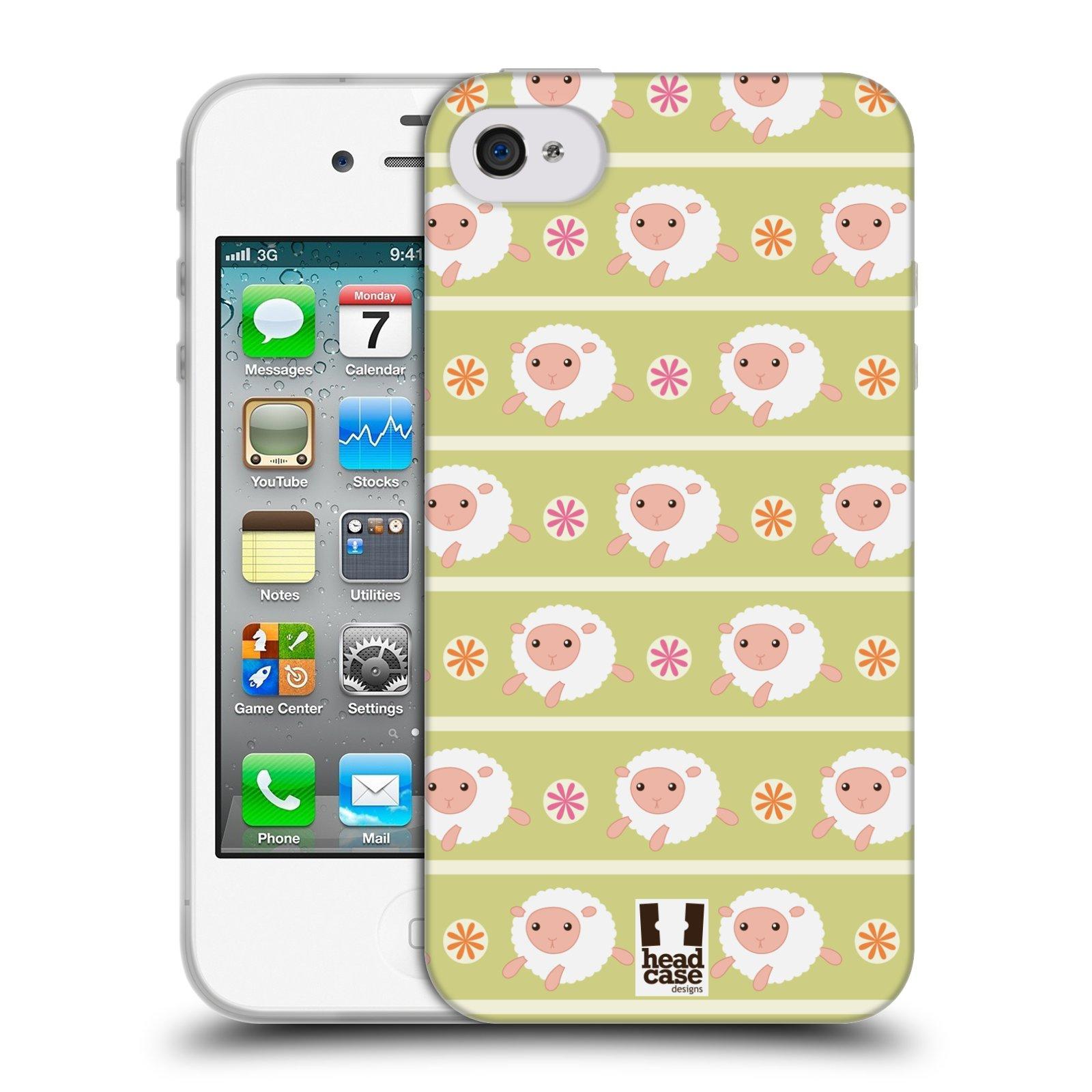 HEAD CASE silikonový obal na mobil Apple Iphone 4/4S vzor roztomilé zvířecí vzory ovečky
