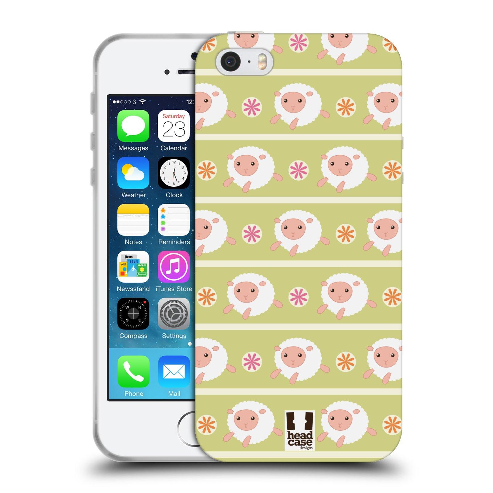 HEAD CASE silikonový obal na mobil Apple Iphone 5/5S vzor roztomilé zvířecí vzory ovečky