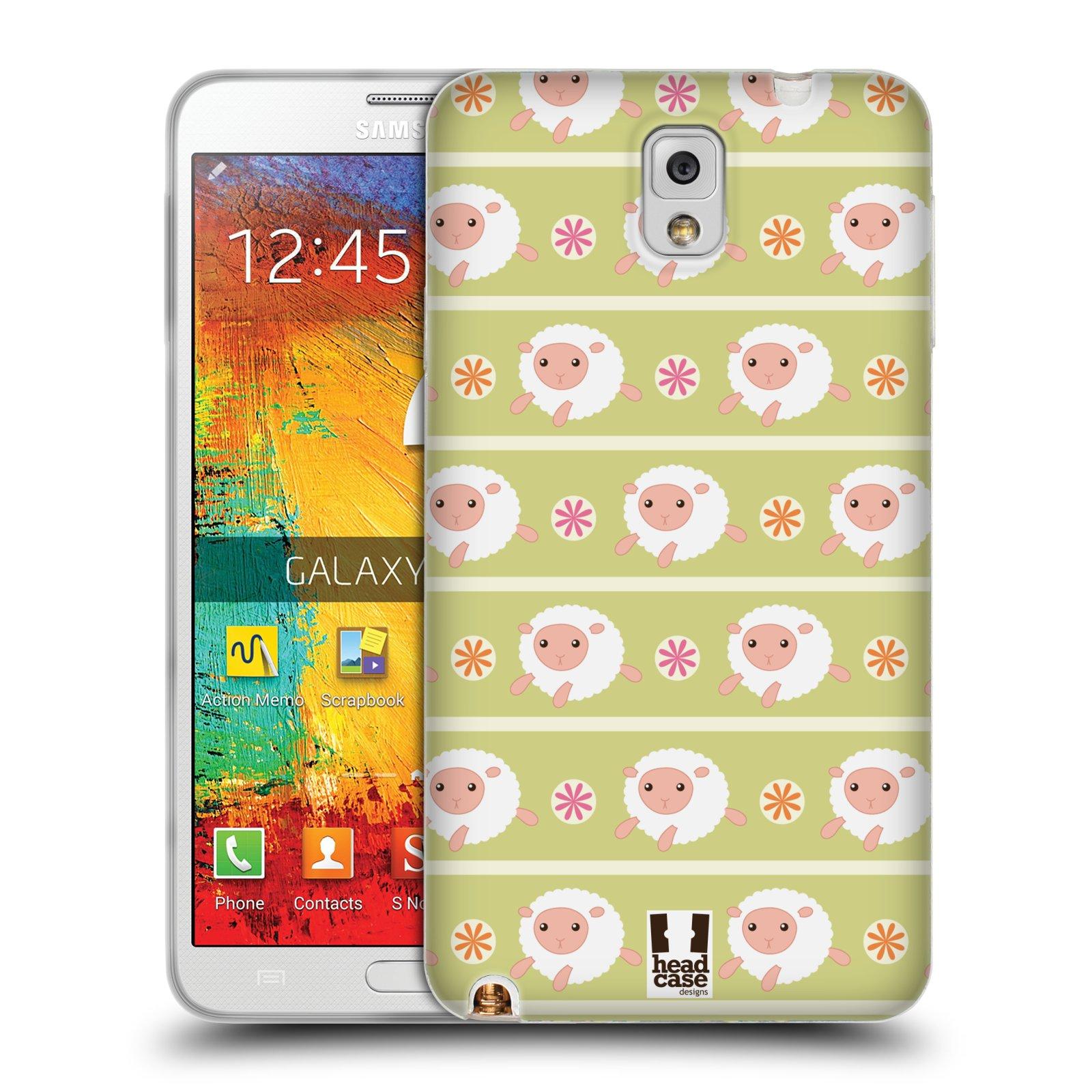 HEAD CASE silikonový obal na mobil Samsung Galaxy Note 3 (N9005) vzor roztomilé zvířecí vzory ovečky