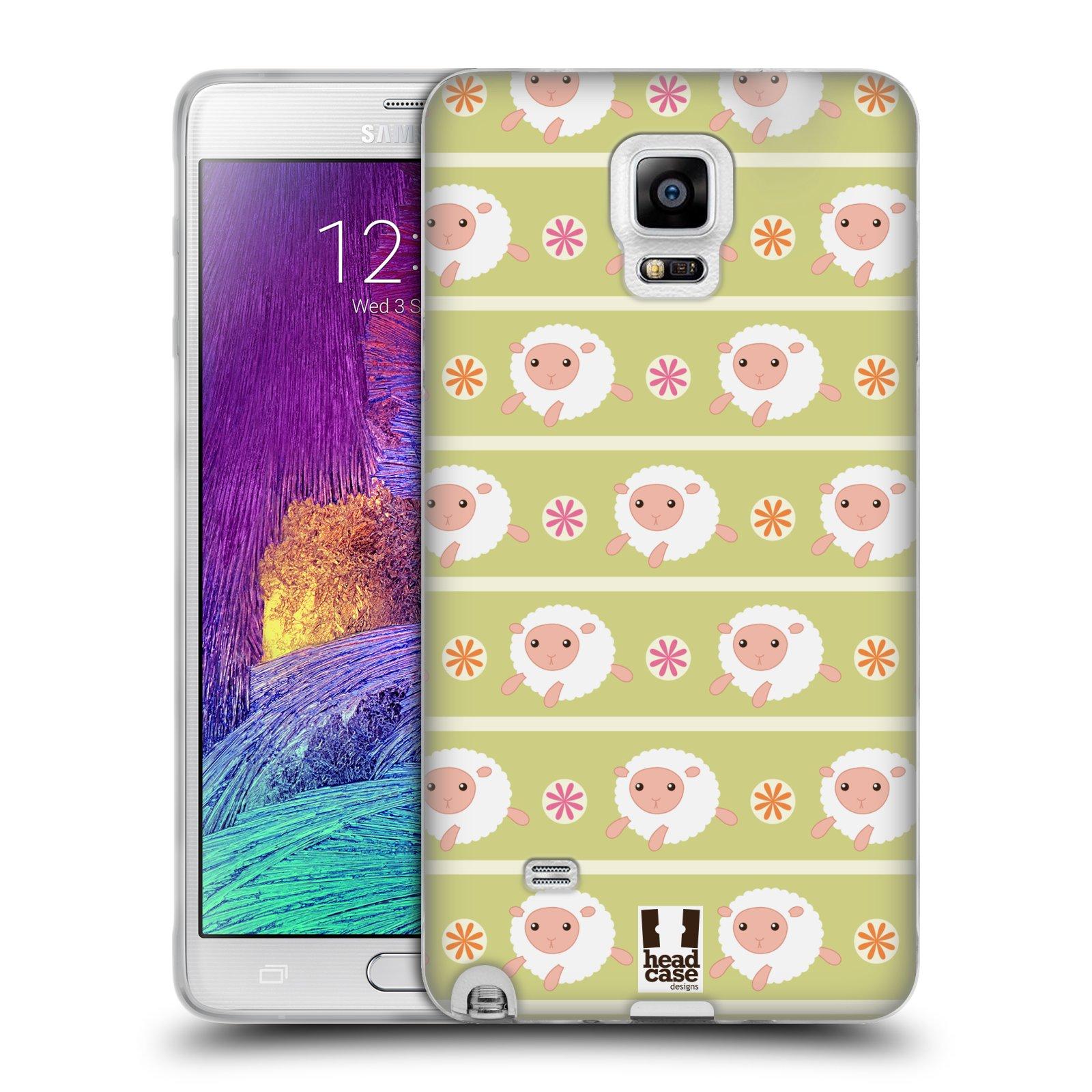 HEAD CASE silikonový obal na mobil Samsung Galaxy Note 4 (N910) vzor roztomilé zvířecí vzory ovečky