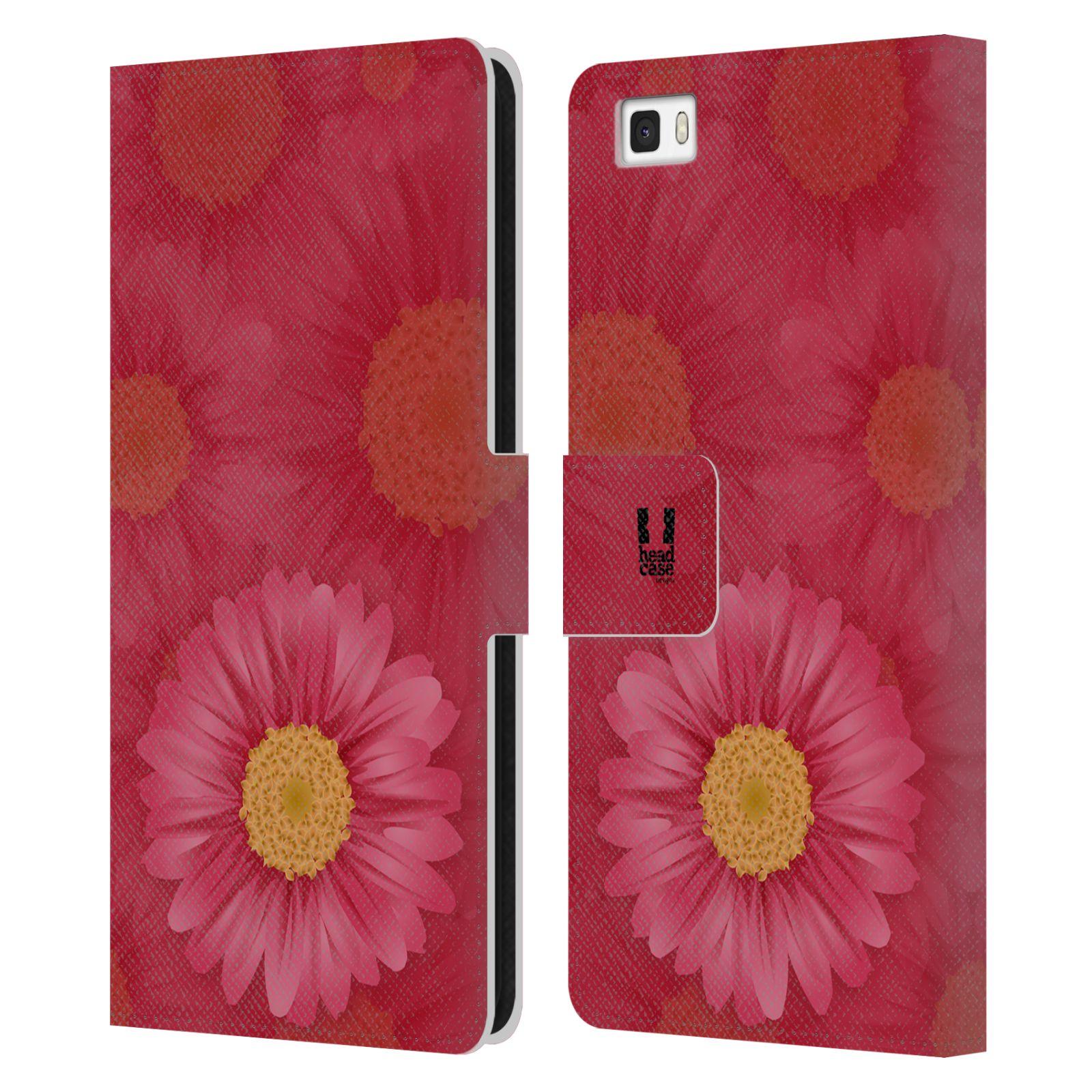 HEAD CASE Flipové pouzdro pro mobil Huawei P8 LITE květina sedmikráska červená