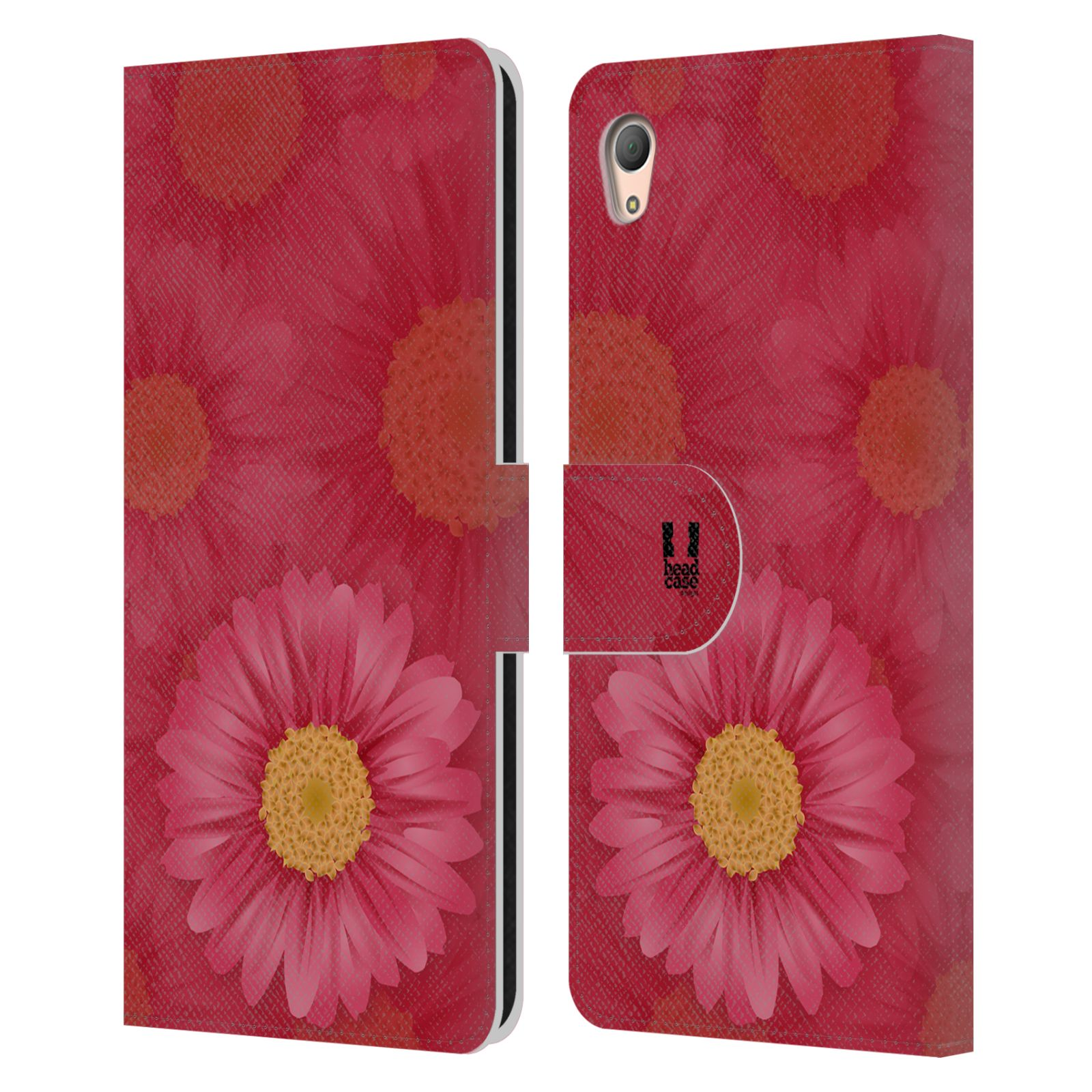 HEAD CASE Flipové pouzdro pro mobil SONY XPERIA Z3+ (PLUS) květina sedmikráska červená