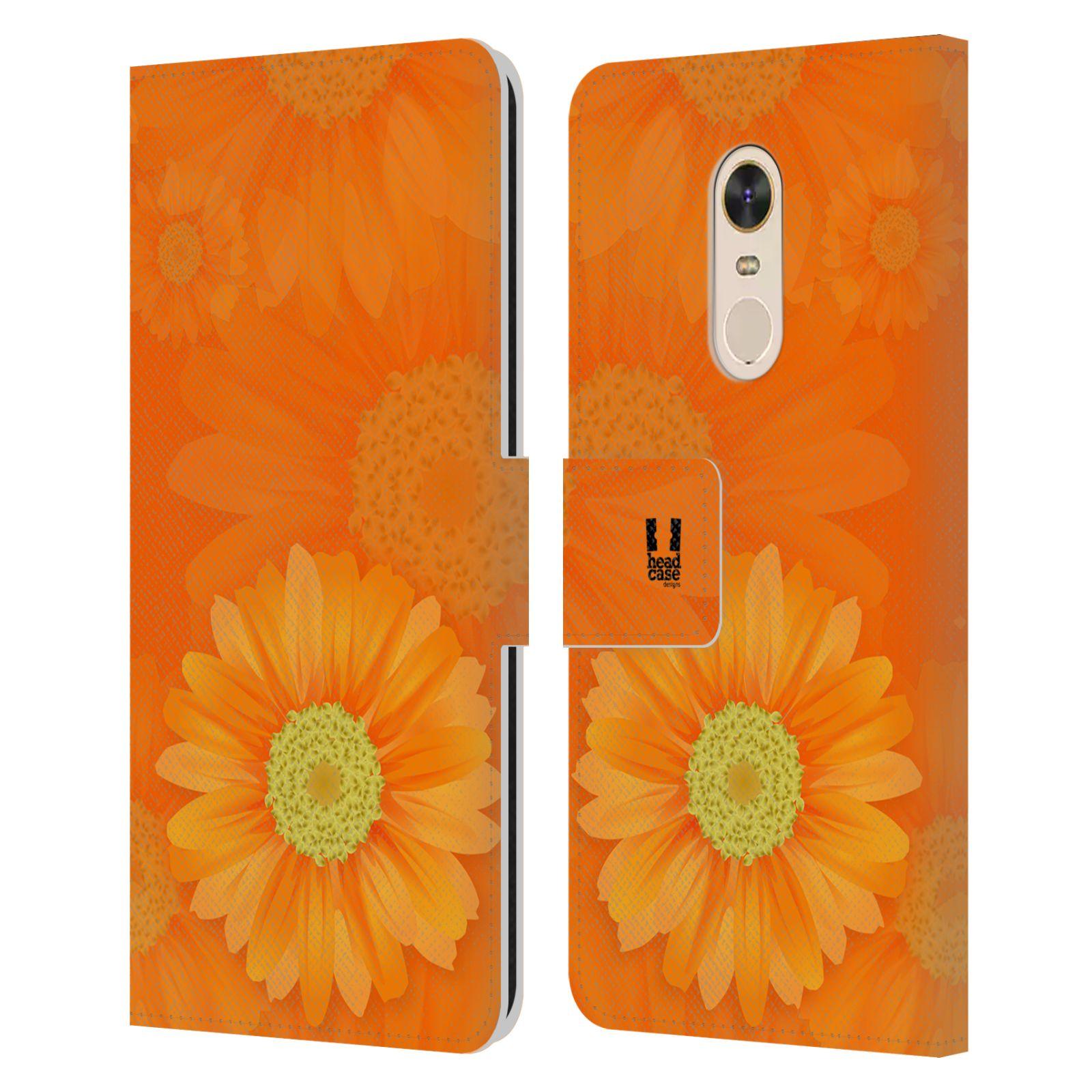 HEAD CASE Flipové pouzdro pro mobil Xiaomi Redmi Note 5 květina sedmikráska oranžová