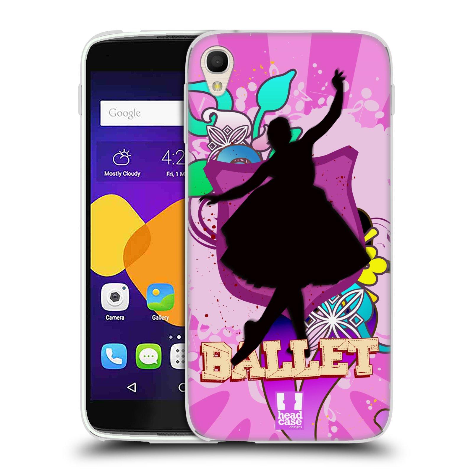 HEAD CASE silikonový obal na mobil Alcatel Idol 3 OT-6045Y (5.5) vzor TANEC SILUETA BALET FIALOVÁ