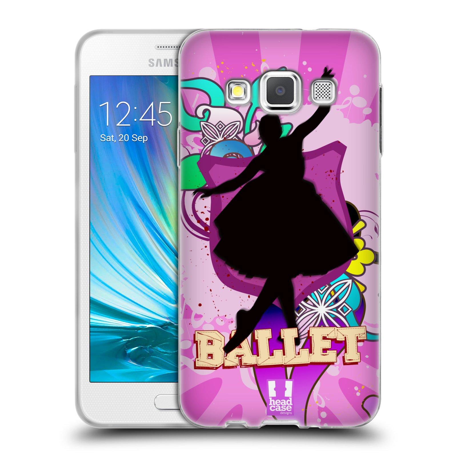 HEAD CASE silikonový obal na mobil Samsung Galaxy A3 vzor TANEC SILUETA BALET FIALOVÁ