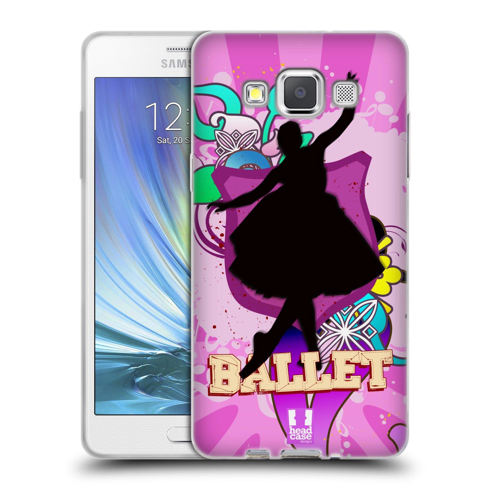 HEAD CASE silikonový obal na mobil Samsung Galaxy A5 vzor TANEC SILUETA BALET FIALOVÁ