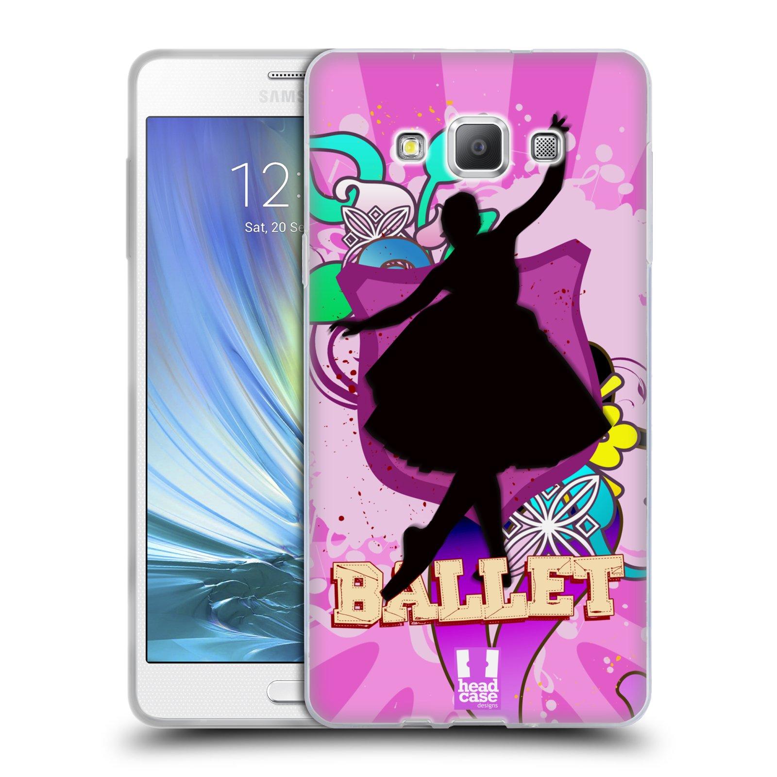 HEAD CASE silikonový obal na mobil Samsung Galaxy A7 vzor TANEC SILUETA BALET FIALOVÁ