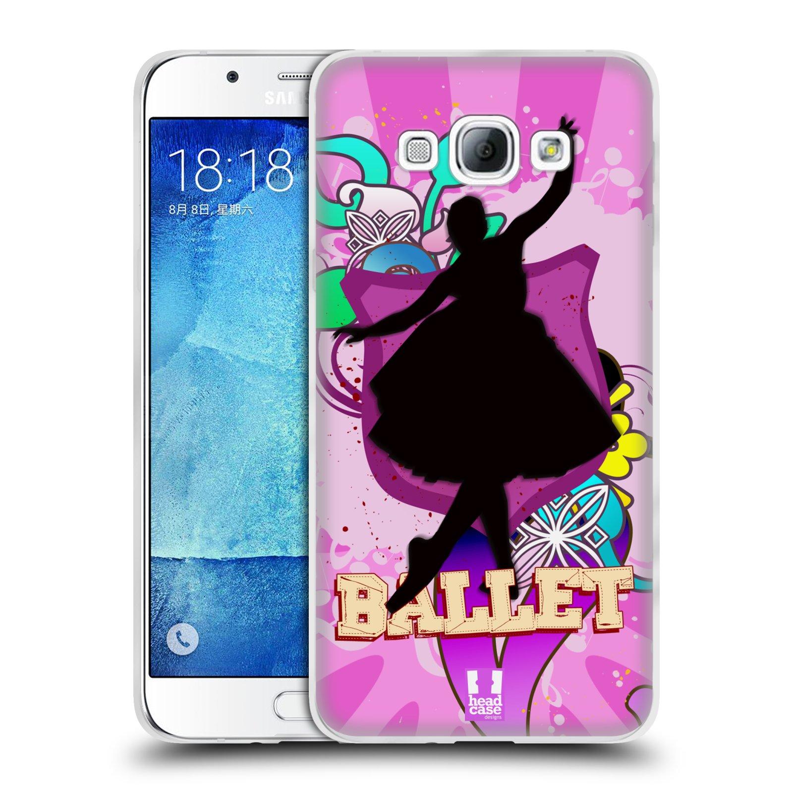 HEAD CASE silikonový obal na mobil Samsung Galaxy A8 vzor TANEC SILUETA BALET FIALOVÁ