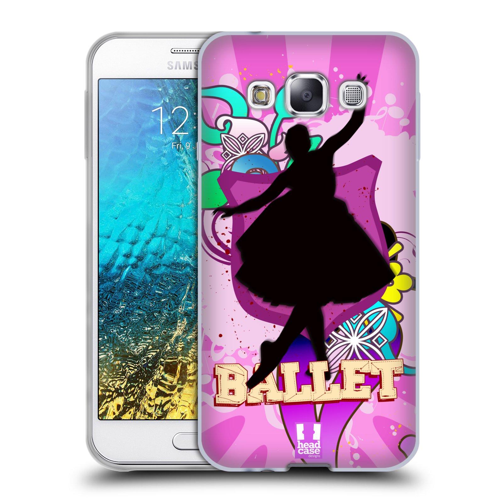 HEAD CASE silikonový obal na mobil Samsung Galaxy E5 vzor TANEC SILUETA BALET FIALOVÁ