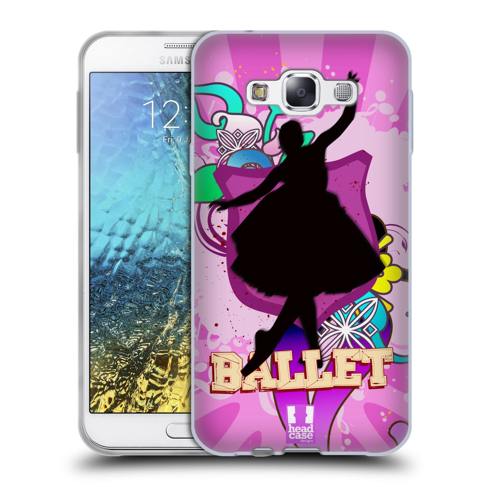 HEAD CASE silikonový obal na mobil Samsung Galaxy E7 vzor TANEC SILUETA BALET FIALOVÁ