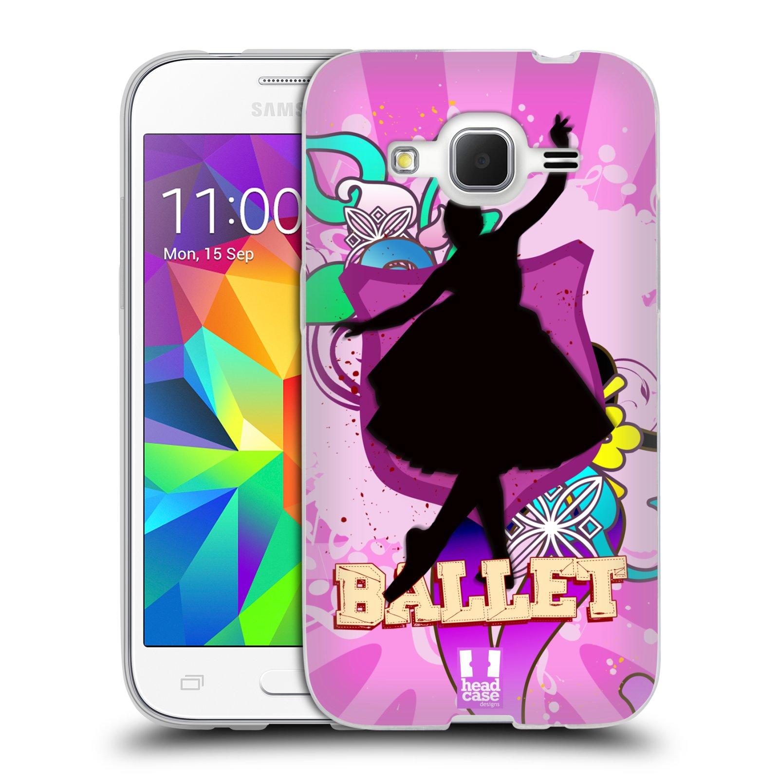 HEAD CASE silikonový obal na mobil Samsung Galaxy Core Prime (G360) vzor TANEC SILUETA BALET FIALOVÁ