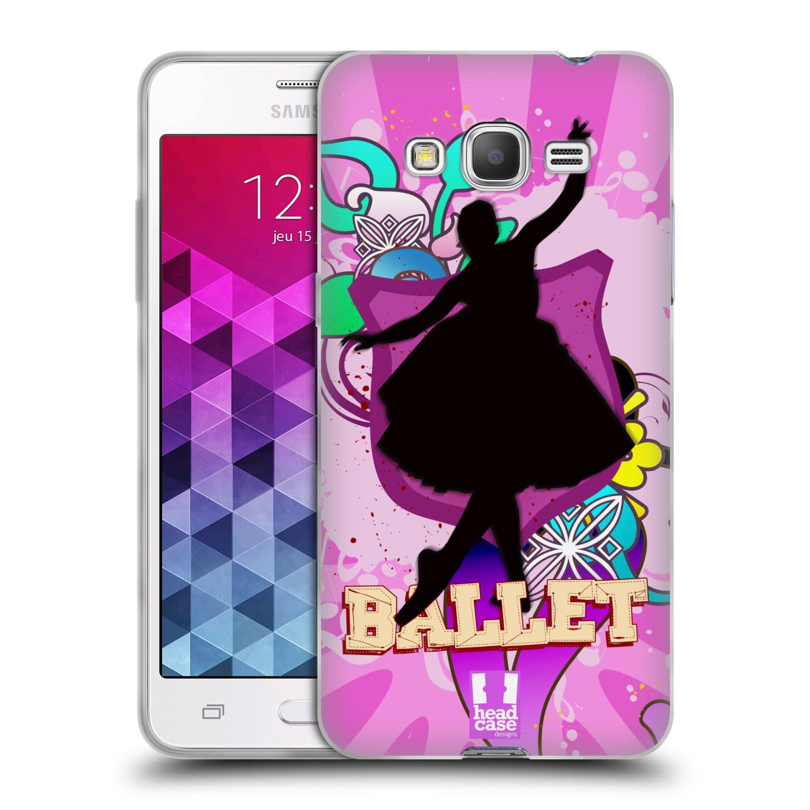 HEAD CASE silikonový obal na mobil Samsung Galaxy GRAND PRIME vzor TANEC SILUETA BALET FIALOVÁ