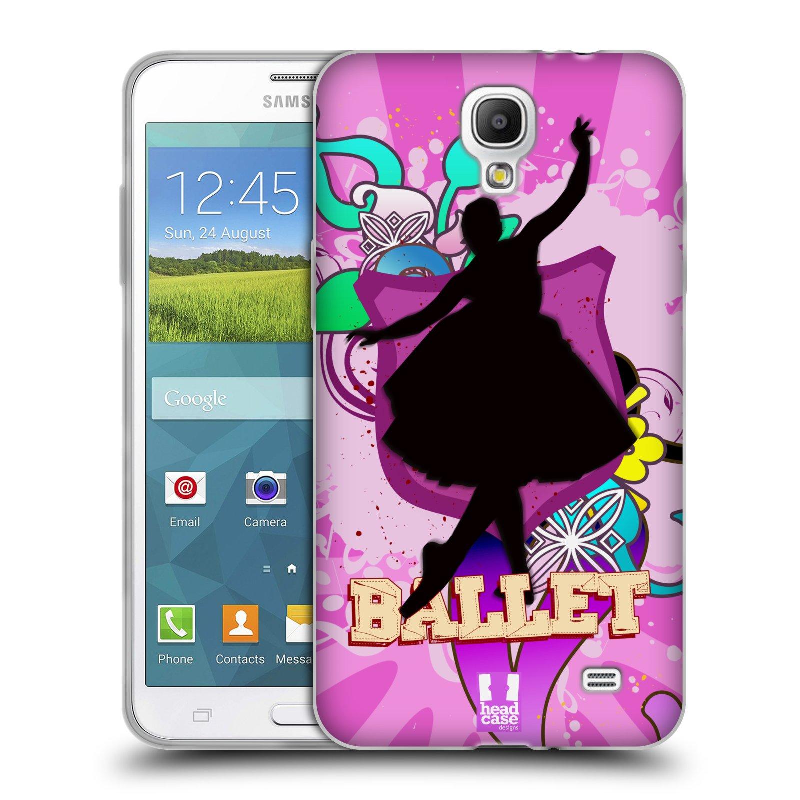 HEAD CASE silikonový obal na mobil Samsung Galaxy Mega 2 vzor TANEC SILUETA BALET FIALOVÁ