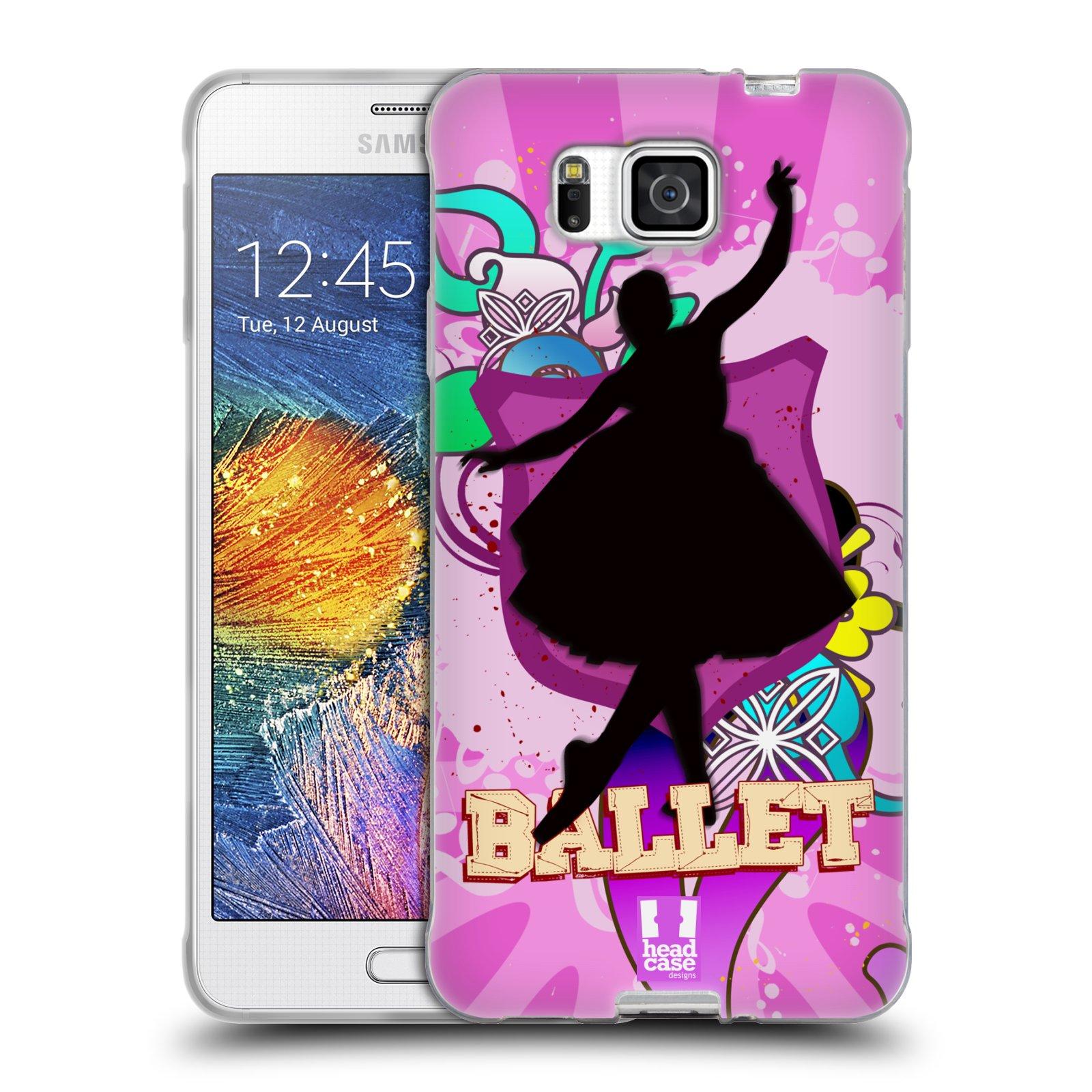 HEAD CASE silikonový obal na mobil Samsung Galaxy ALPHA vzor TANEC SILUETA BALET FIALOVÁ
