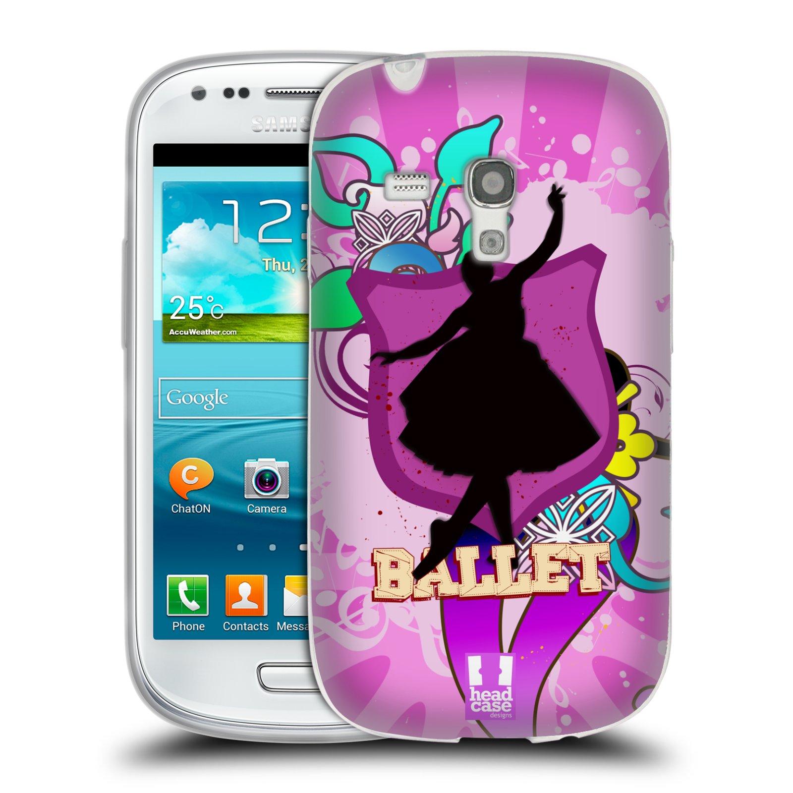 HEAD CASE silikonový obal na mobil Samsung Galaxy S3 MINI i8190 vzor TANEC SILUETA BALET FIALOVÁ