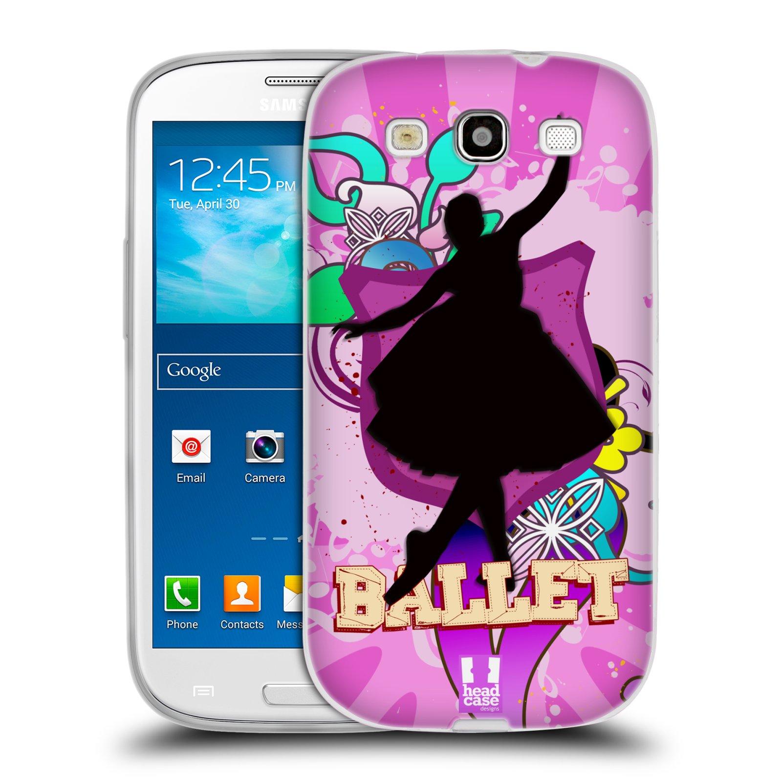 HEAD CASE silikonový obal na mobil Samsung Galaxy S3 i9300 vzor TANEC SILUETA BALET FIALOVÁ