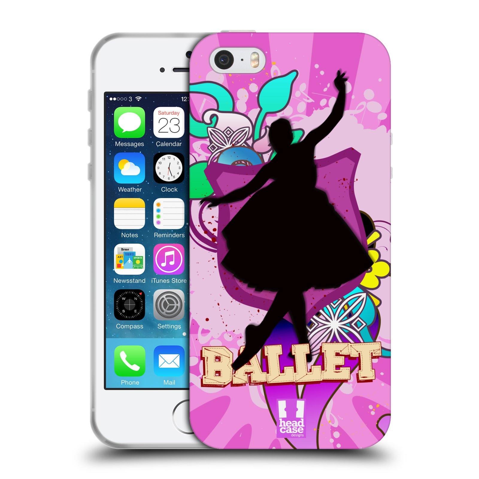 HEAD CASE silikonový obal na mobil Apple Iphone 5/5S vzor TANEC SILUETA BALET FIALOVÁ