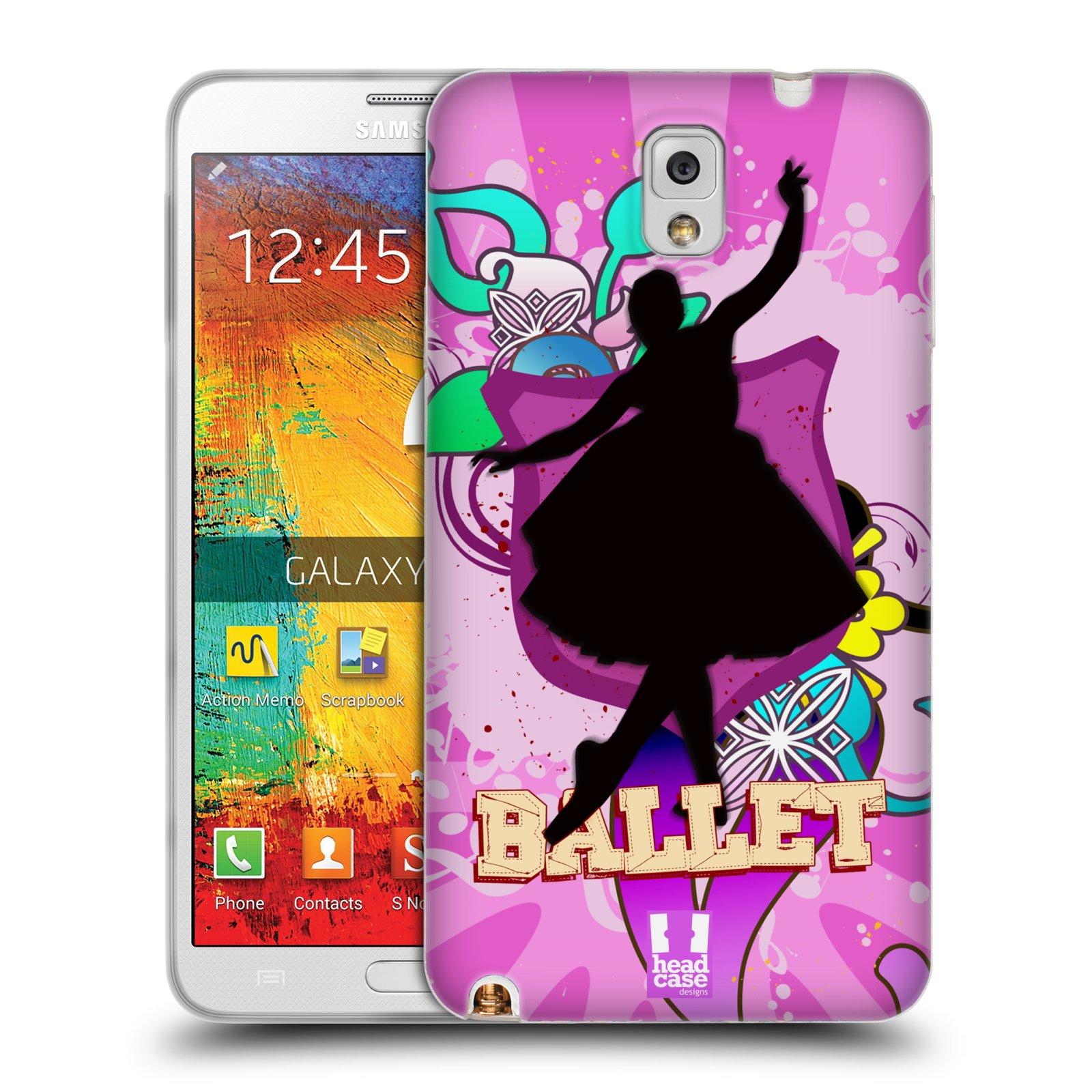 HEAD CASE silikonový obal na mobil Samsung Galaxy Note 3 (N9005) vzor TANEC SILUETA BALET FIALOVÁ