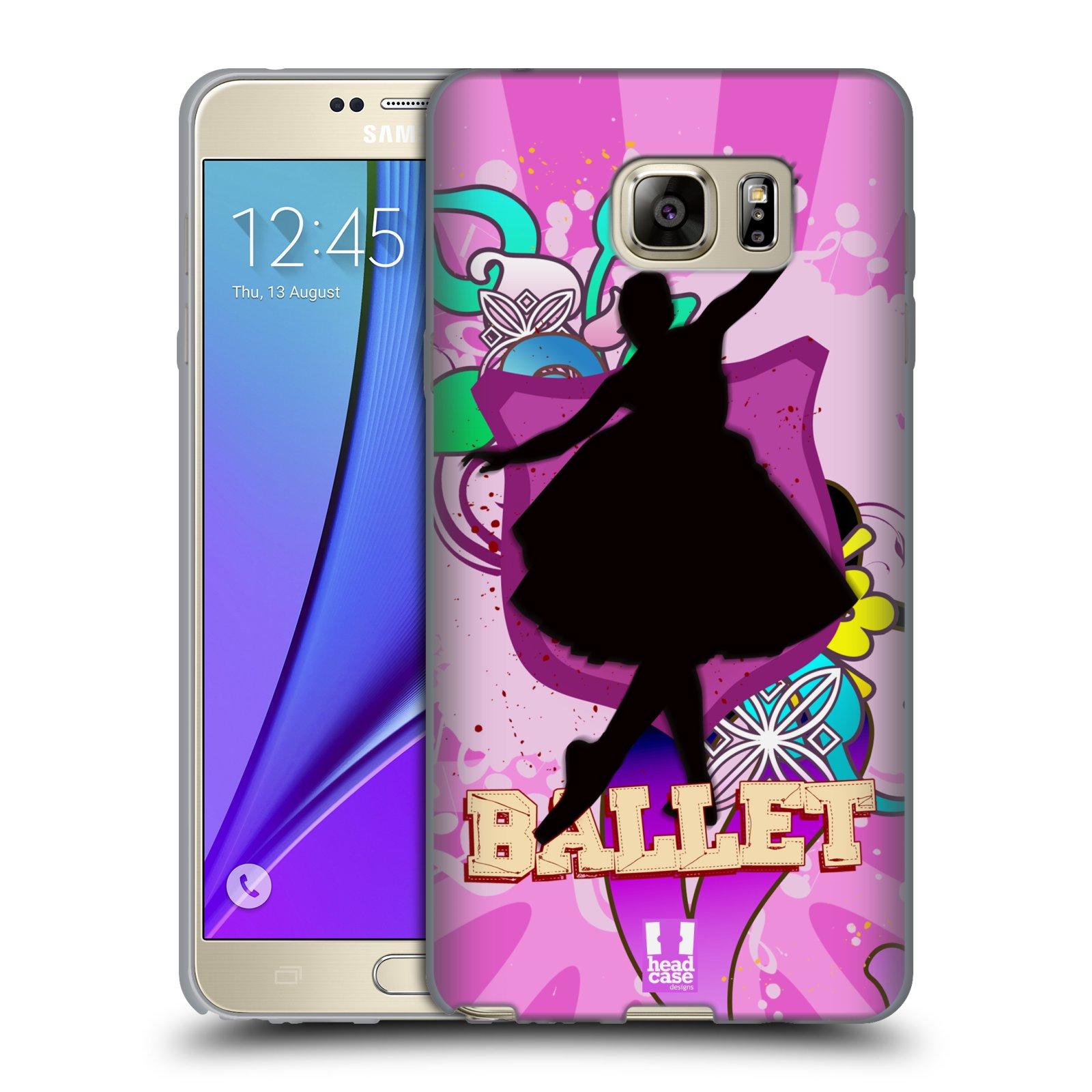 HEAD CASE silikonový obal na mobil Samsung Galaxy Note 5 (N920) vzor TANEC SILUETA BALET FIALOVÁ