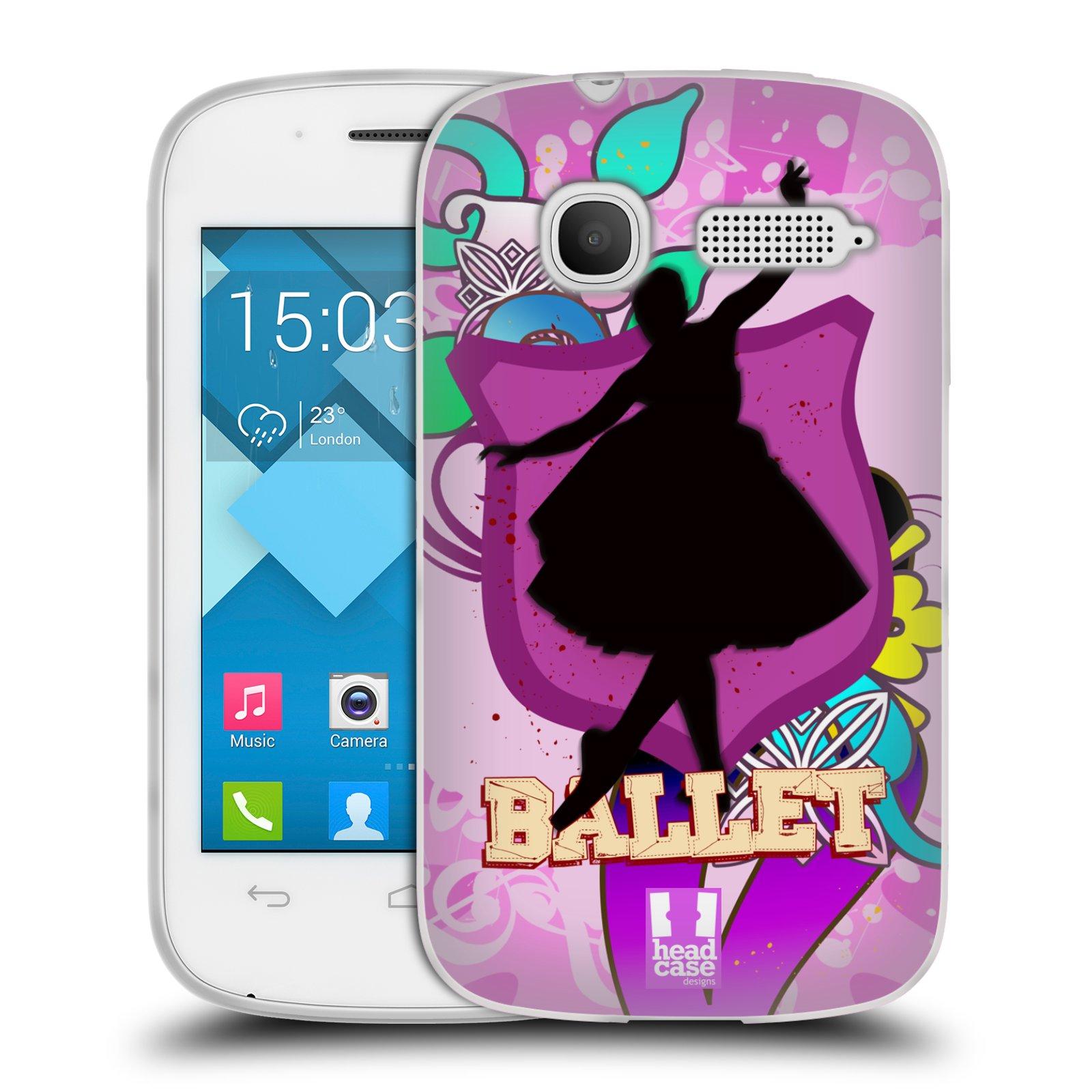 HEAD CASE silikonový obal na mobil Alcatel POP C1 OT-4015D vzor TANEC SILUETA BALET FIALOVÁ