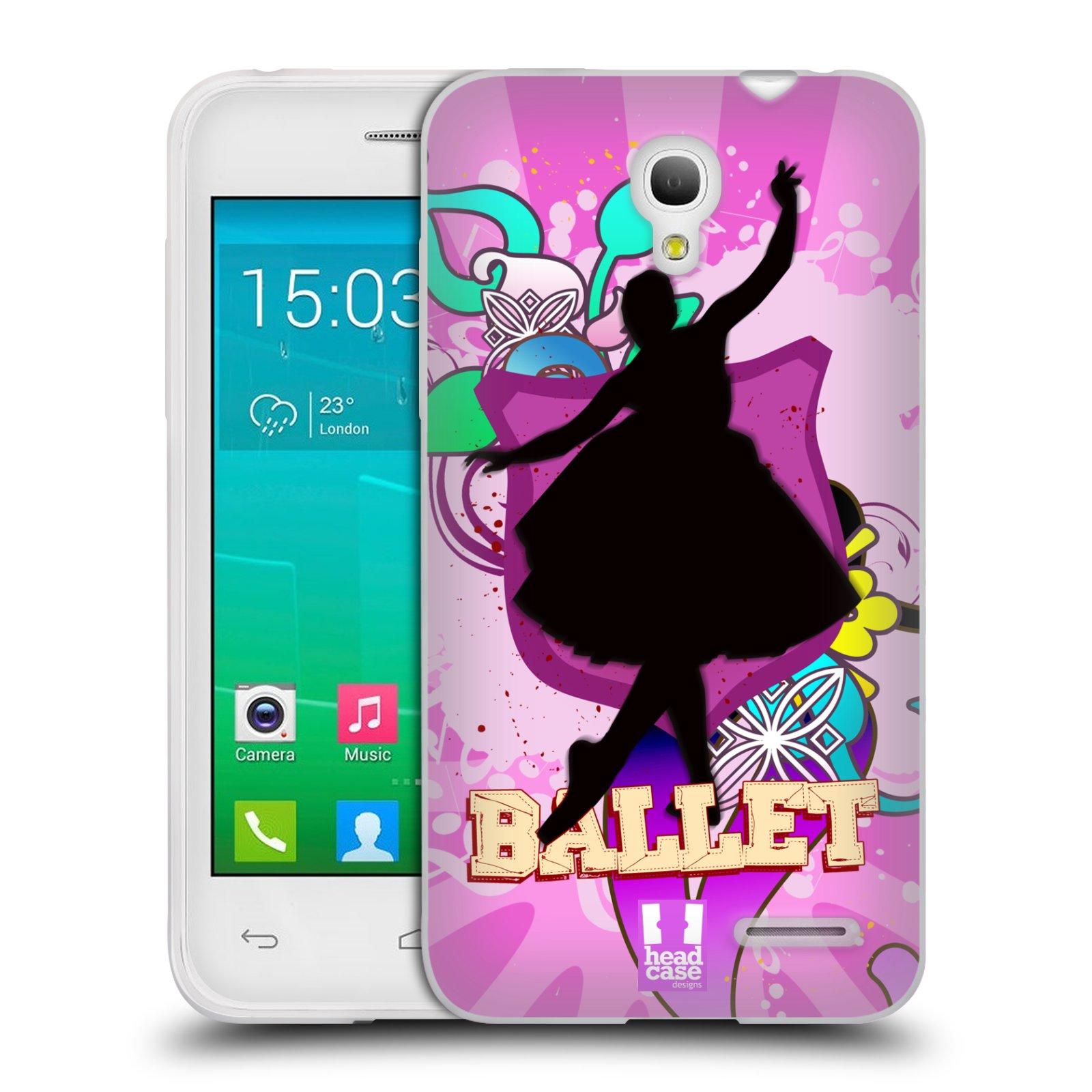HEAD CASE silikonový obal na mobil Alcatel POP S3 OT-5050Y vzor TANEC SILUETA BALET FIALOVÁ