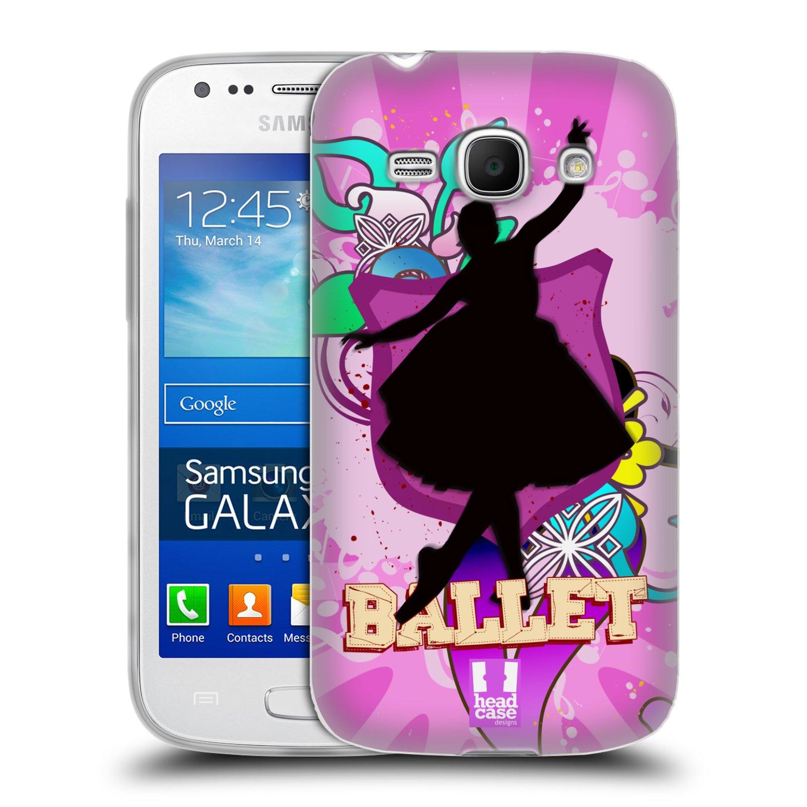 HEAD CASE silikonový obal na mobil Samsung Galaxy Ace 3 vzor TANEC SILUETA BALET FIALOVÁ