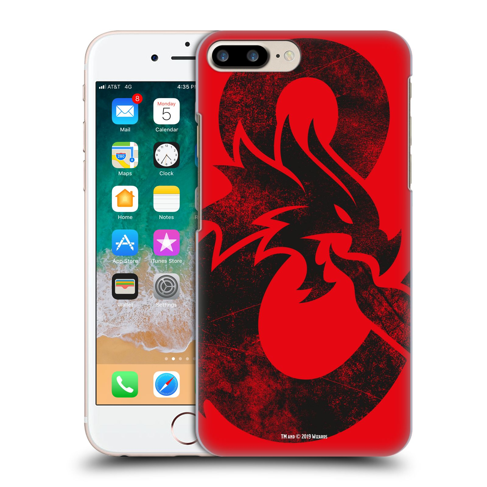 Pouzdro na mobil Apple Iphone 7/8 PLUS - HEAD CASE - Dungeons and Dragons - Chrlící drak
