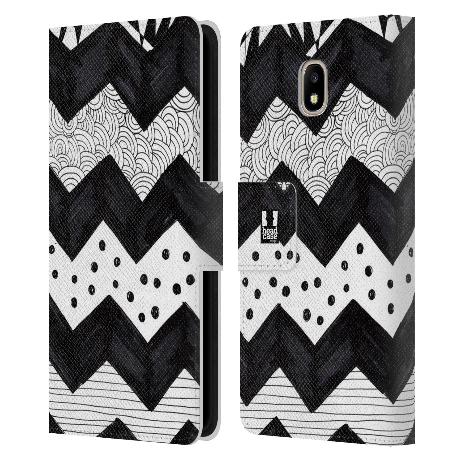 HEAD CASE Flipové pouzdro pro mobil Samsung Galaxy J5 2017 kresba a  čmáranice pruhy cik cak černá a bílá 0664c46a233