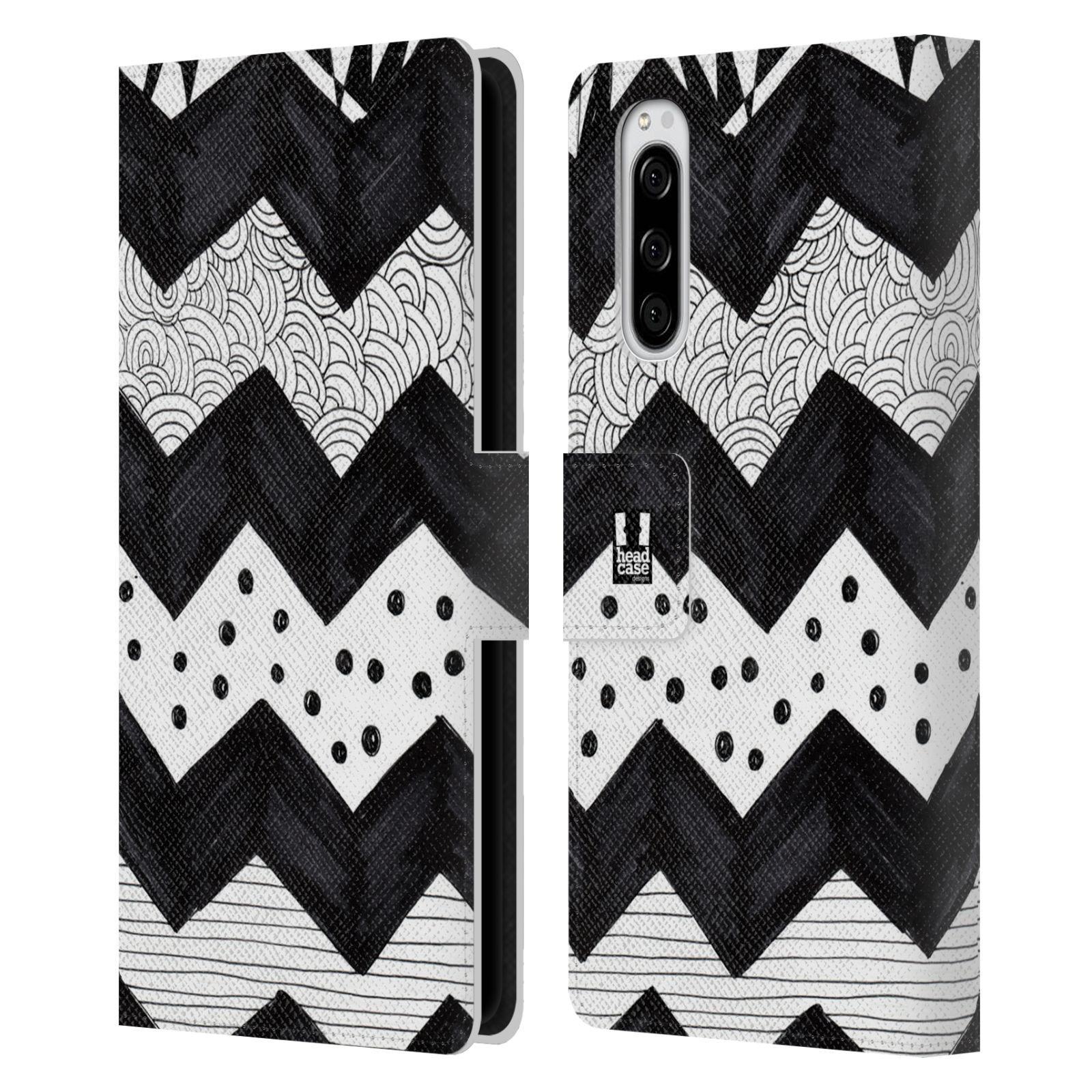 Pouzdro na mobil Sony Xperia 5 kresba a čmáranice pruhy cik cak černá a bílá