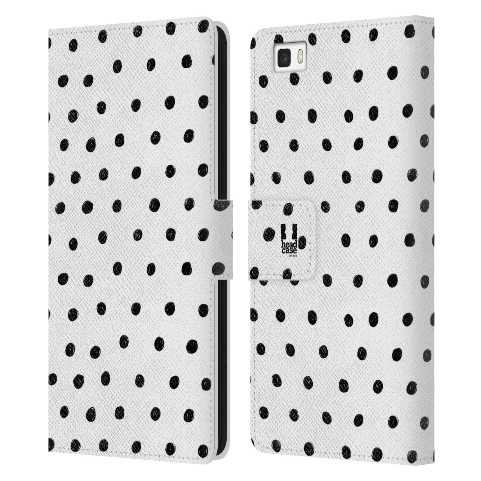 HEAD CASE Flipové pouzdro pro mobil Huawei P8 LITE kresba a čmáranice černé tečky a bílé pozadí