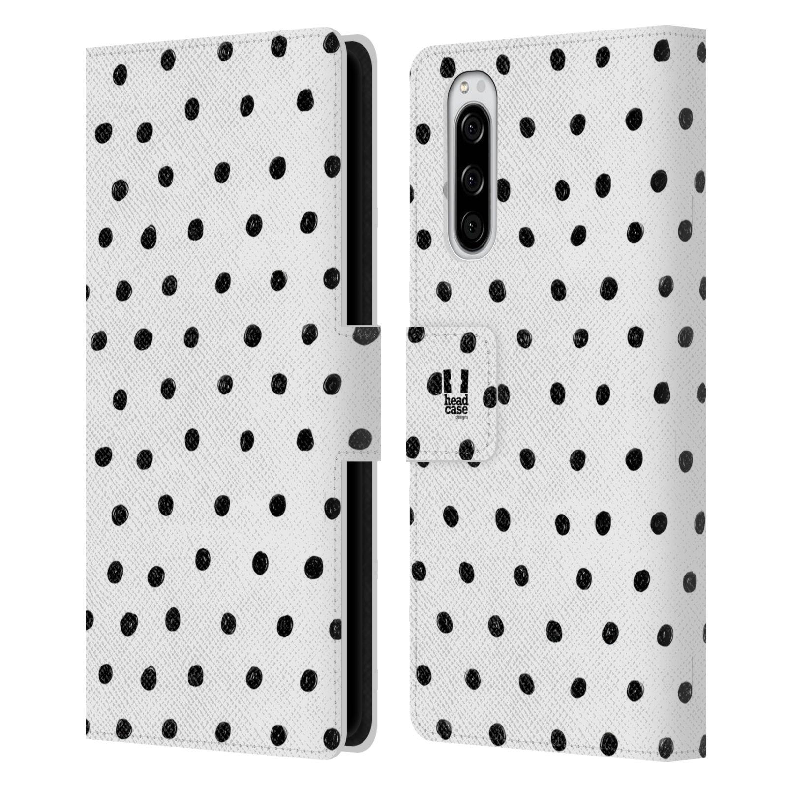 Pouzdro na mobil Sony Xperia 5 kresba a čmáranice černé tečky a bílé pozadí